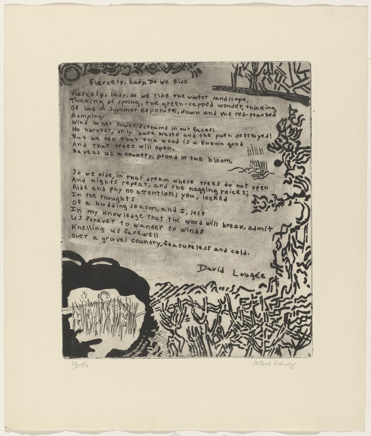 Karl Schrag, David Lougée. In-text plate (folio 22) from 21 Etchings and Poems. 1956, published 1960