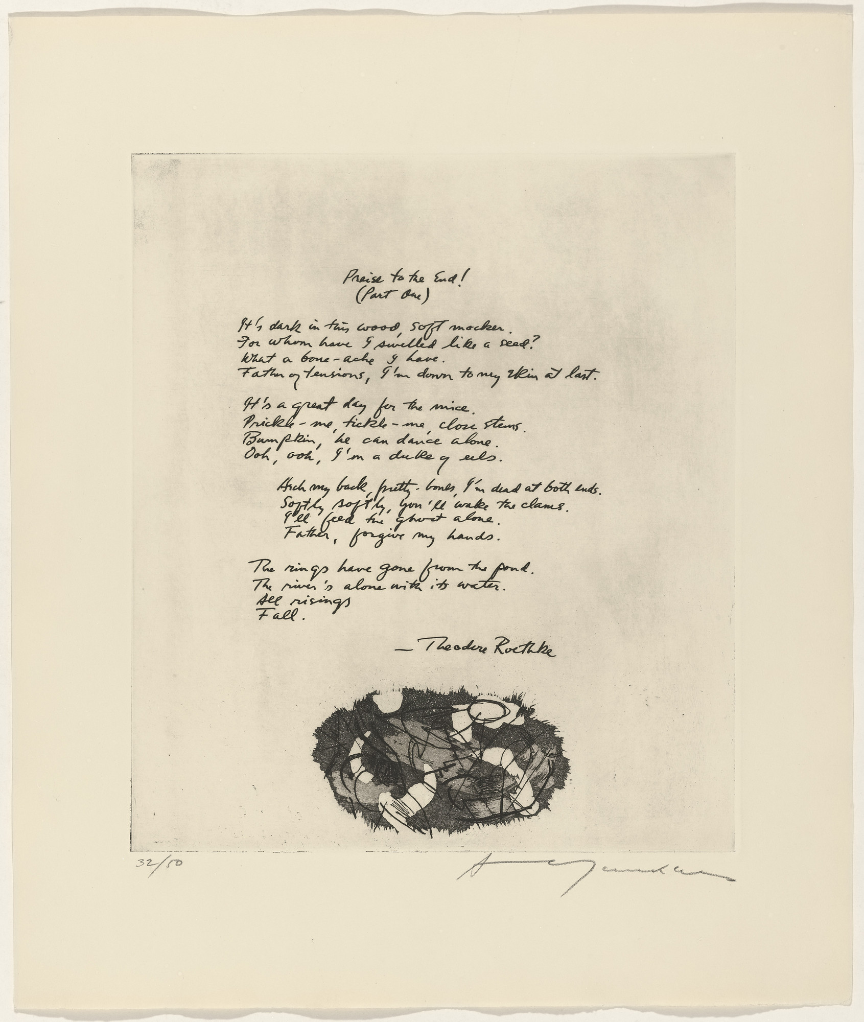 Adja Yunkers, Theodore Roethke. In-text plate (folio 24) from 21 Etchings and Poems. 1960
