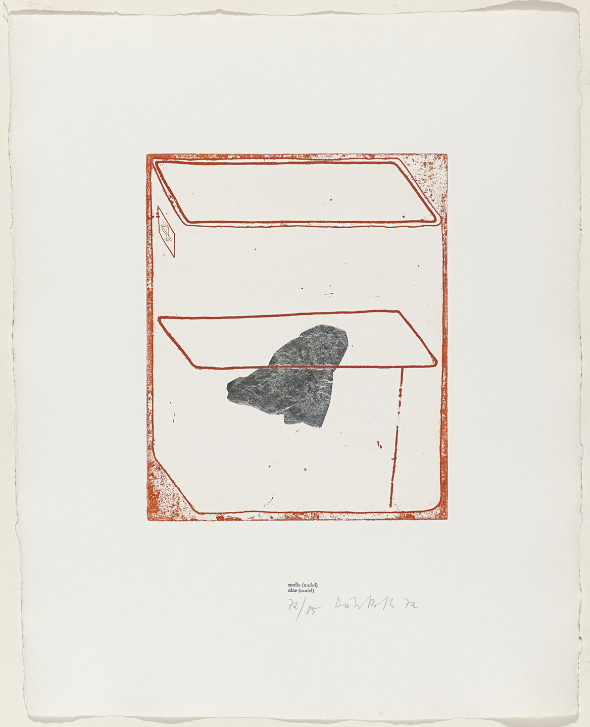Dieter Roth. nudle (nudol) (akte [nudel]) from Containers. 1972, published 1973
