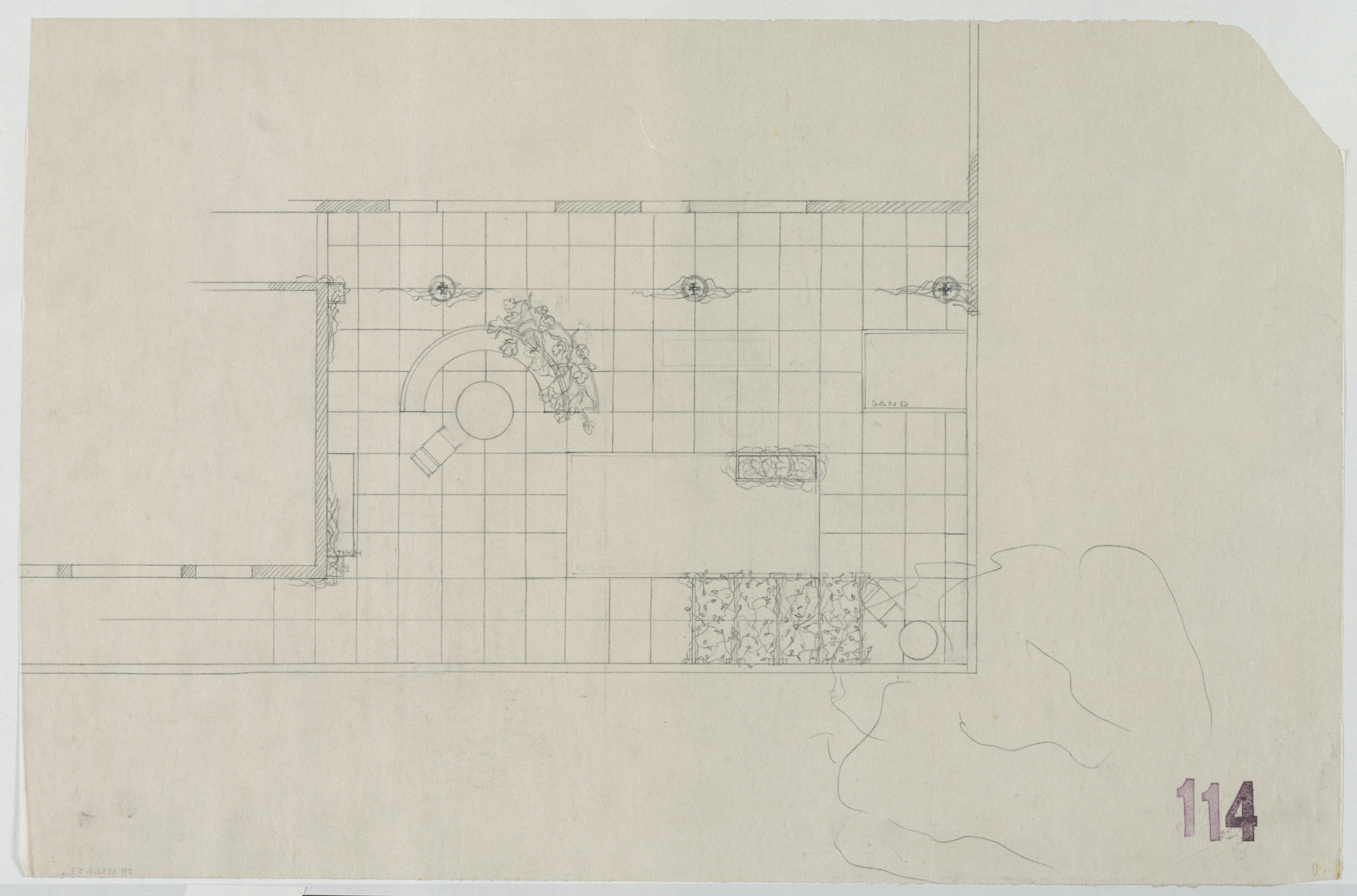Ludwig Mies van der Rohe. Tugendhat House, Brno, Czech Republic (Plan, upper-floor southeast corner terrace). 1928-1930