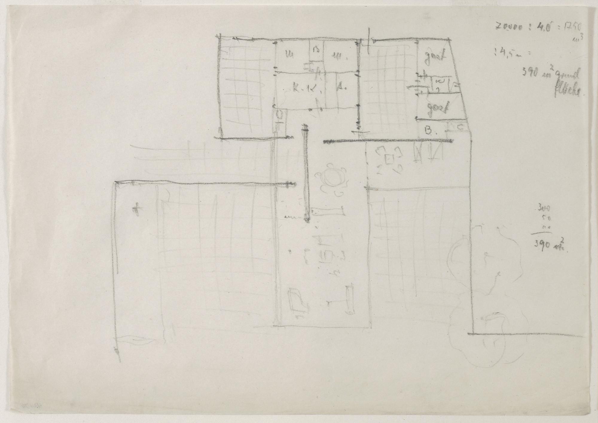 Ludwig Mies van der Rohe. Hubbe-related Study (Floor plan sketch). c.1934-1935 | MoMA