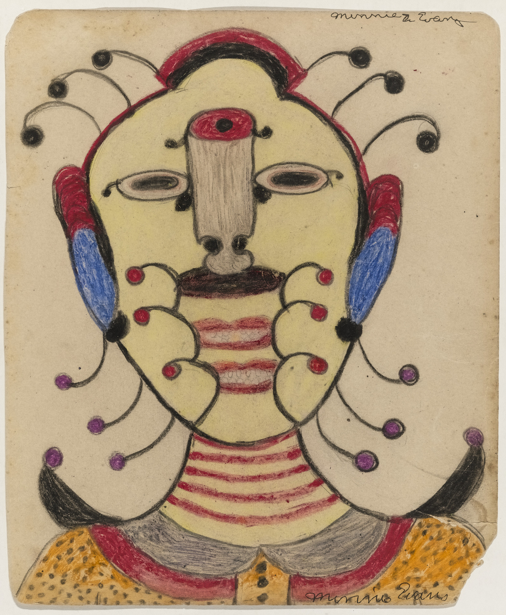 Minnie Evans. Untitled (Clown Creature). c. 1944