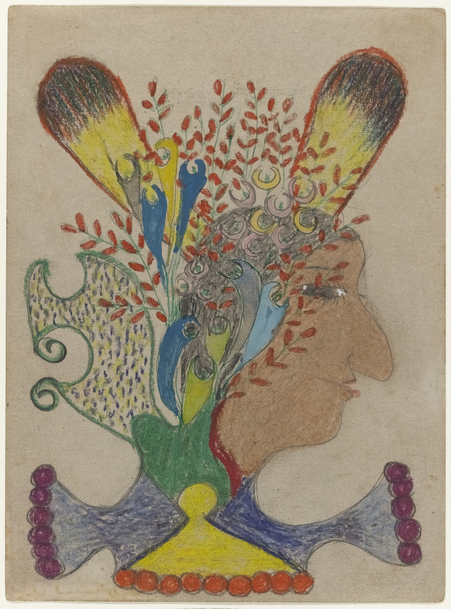 Minnie Evans. Untitled (Profile of Indian Woman). c. 1948