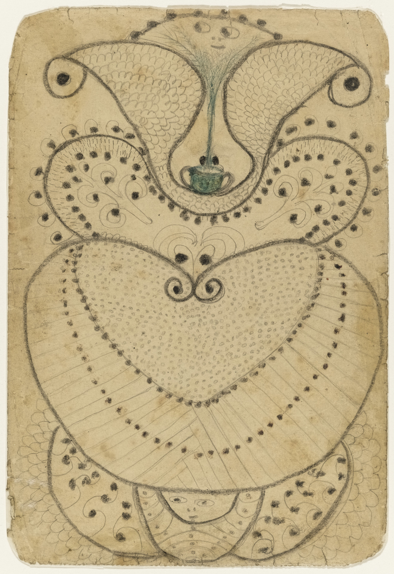 Minnie Evans. Untitled (Bull's Head at Top, Dots and Curves). c. 1940
