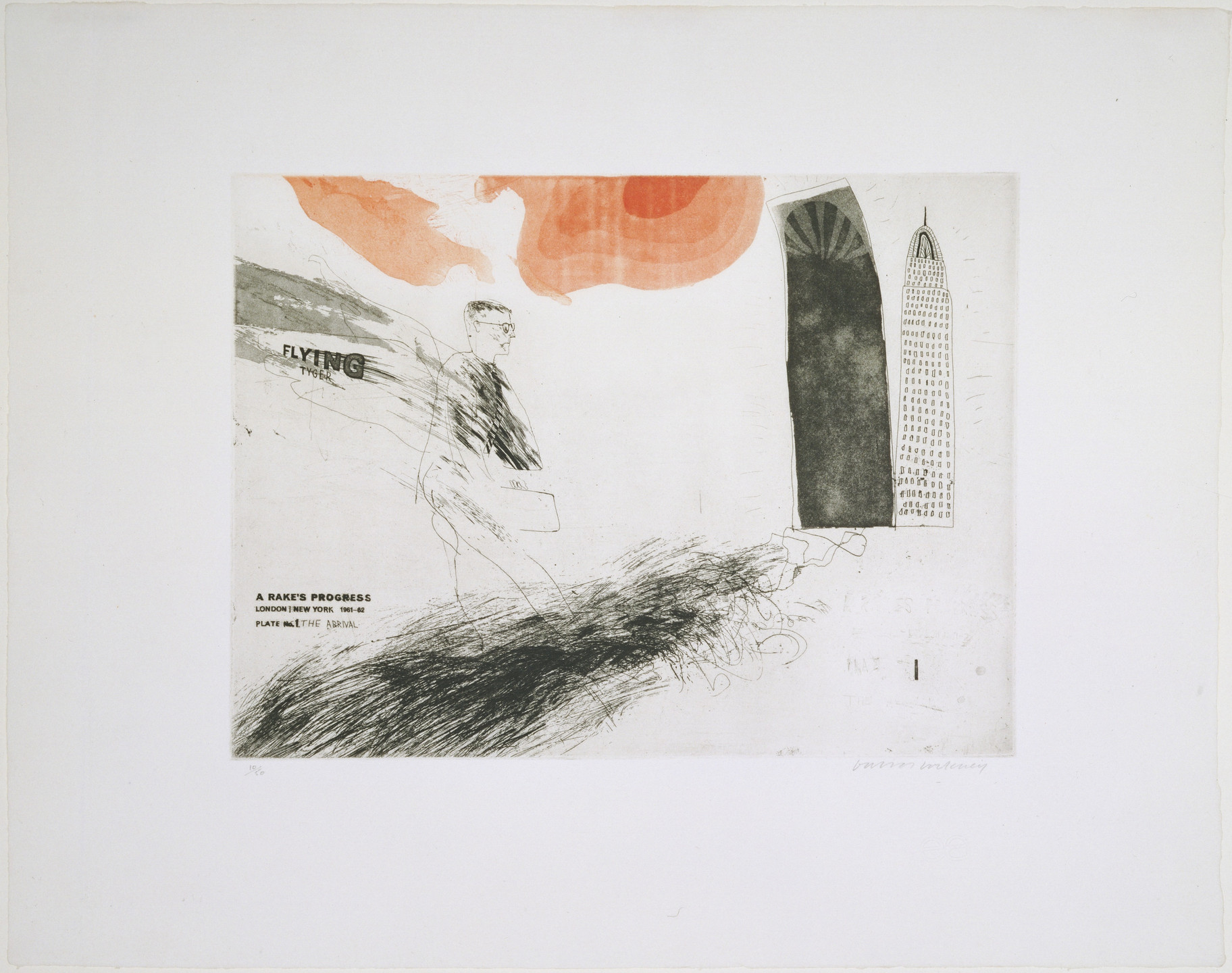 David Hockney. The Arrival (plate 1) from A Rake's Progress. 1961–62, published 1963