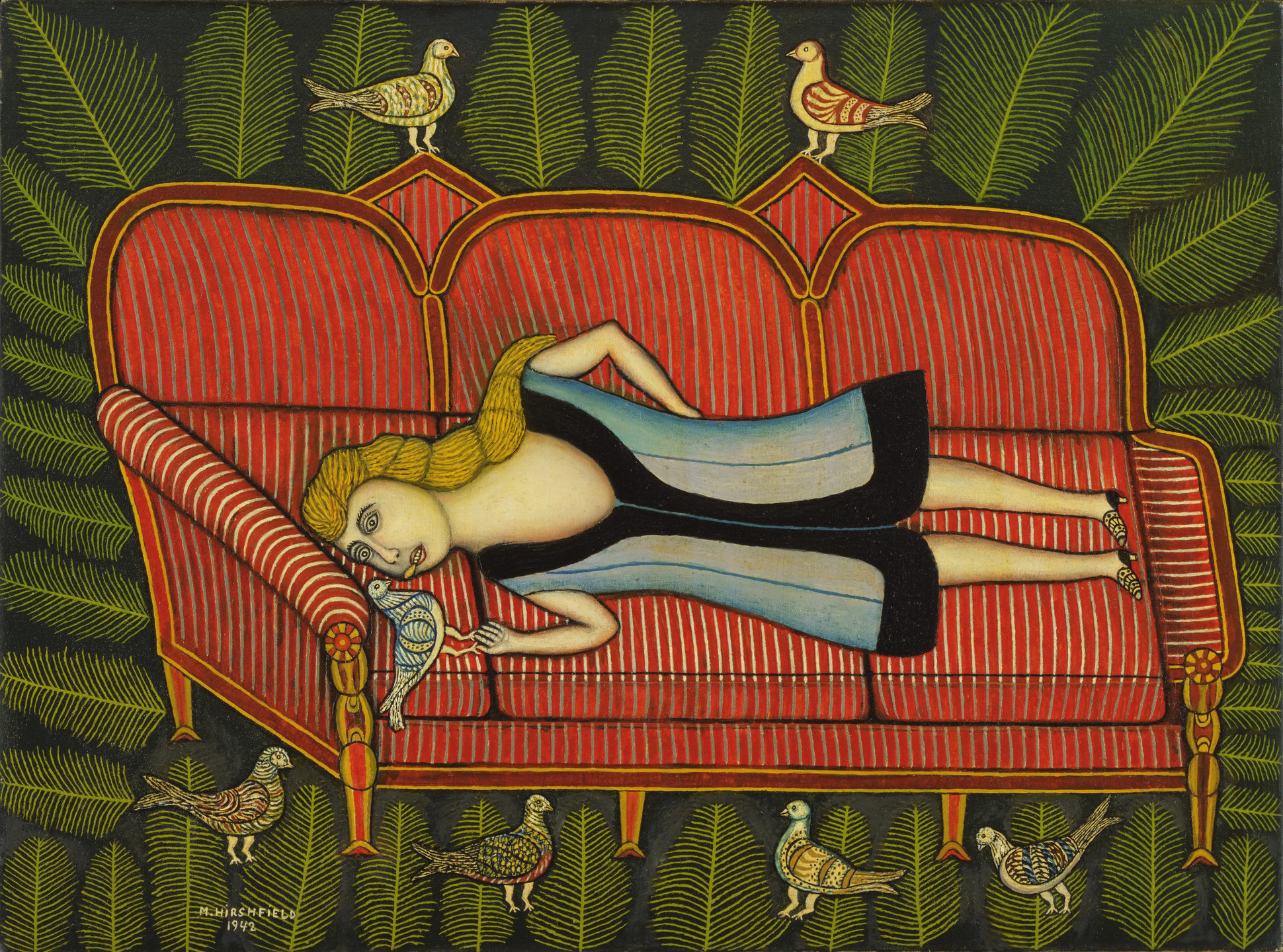 Morris Hirshfield. Girl with Pigeons. 1942