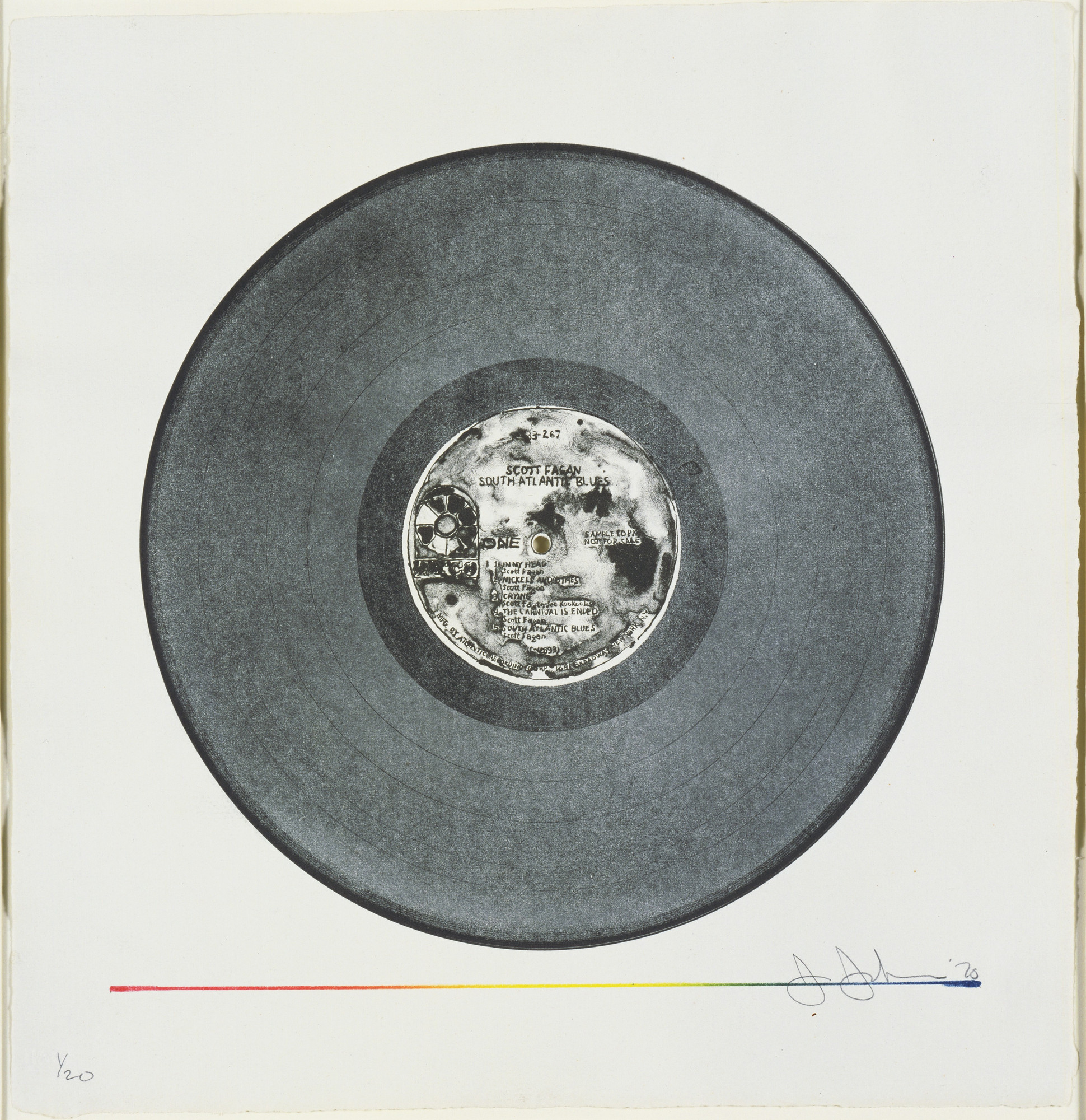 Jasper Johns. Scott Fagan Record. 1970