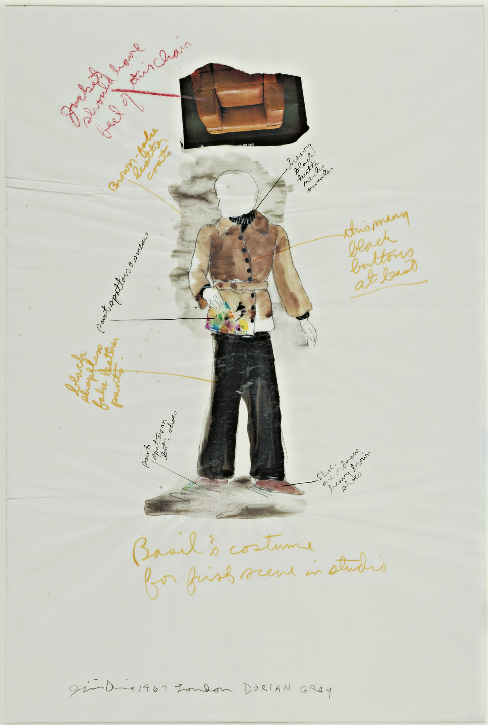 Jim Dine. Basil Hallward's Costume for the First Scene in Studio. Costume design for The Picture of Dorian Gray. 1967