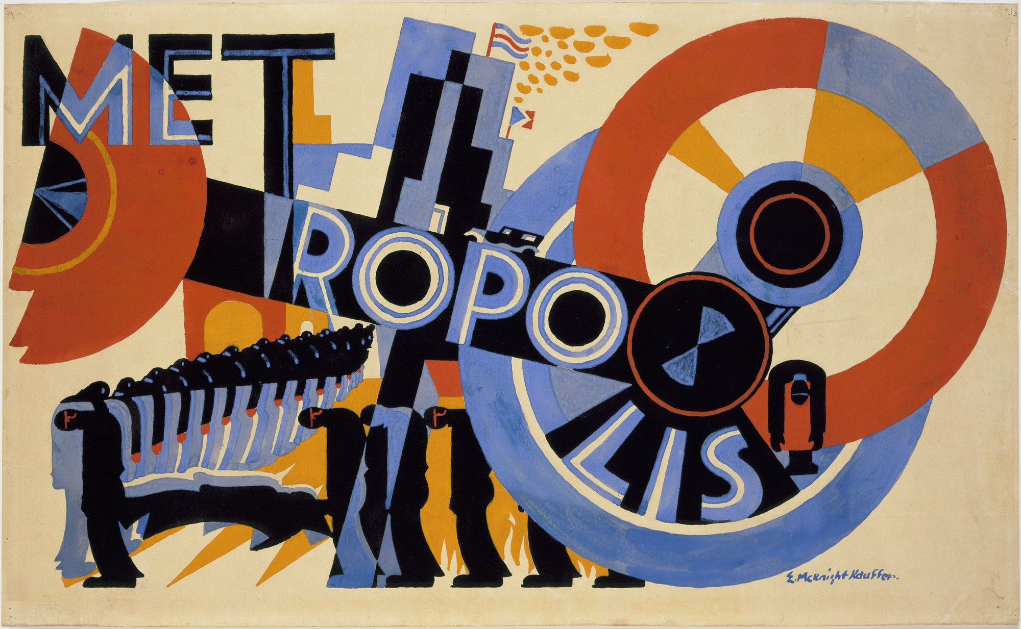 E. McKnight Kauffer. Poster design for the film Metropolis by Fritz Lang. 1926