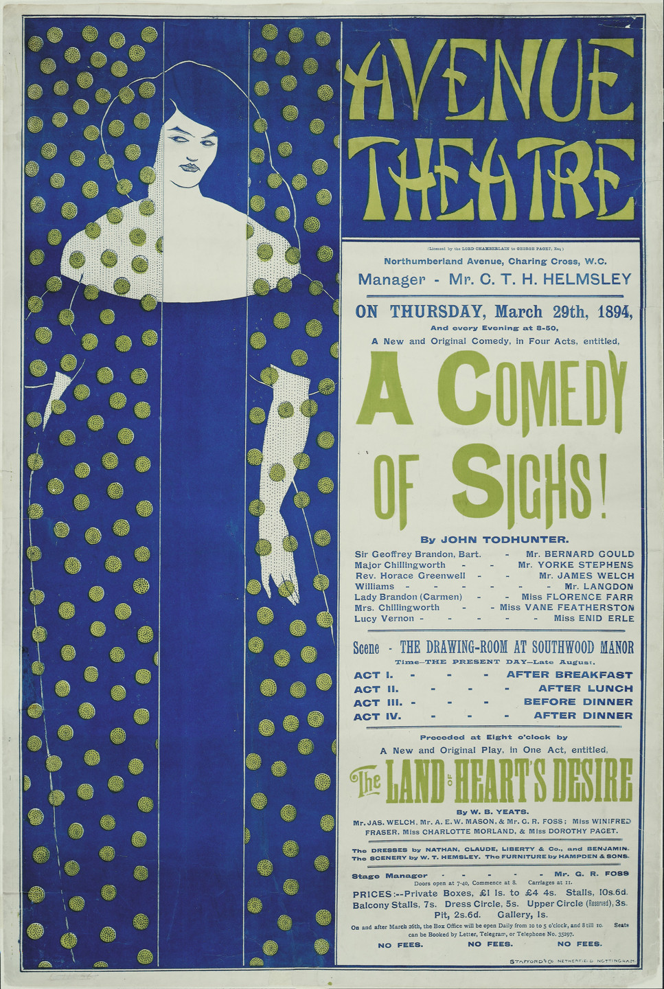 Aubrey Beardsley. Avenue Theater, A Comedy of Sighs!. 1894