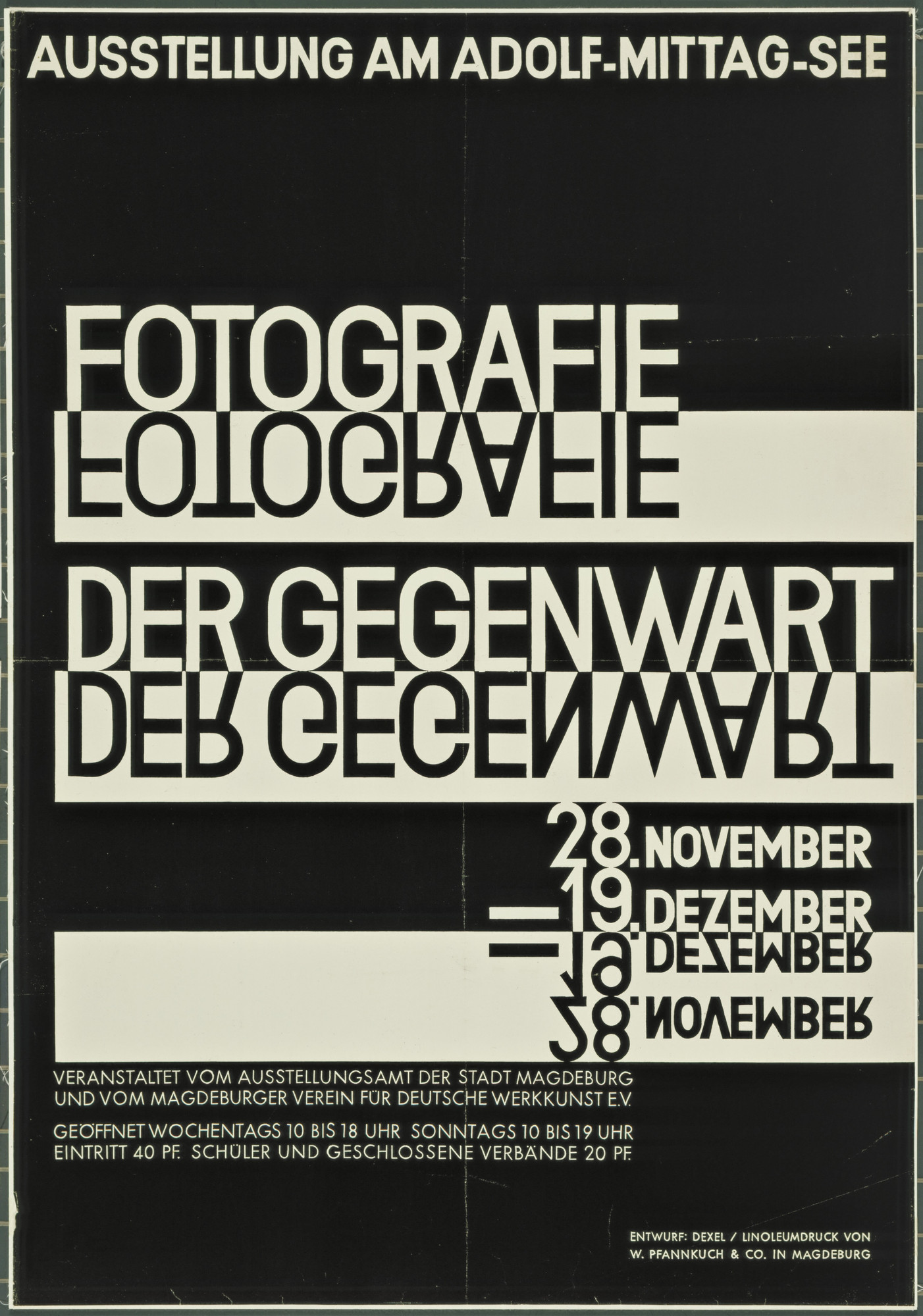 Walter Dexel. Fotografie der Gegenwart (Contemporary Photography) (Poster for exhibition in Magdeburg). 1929