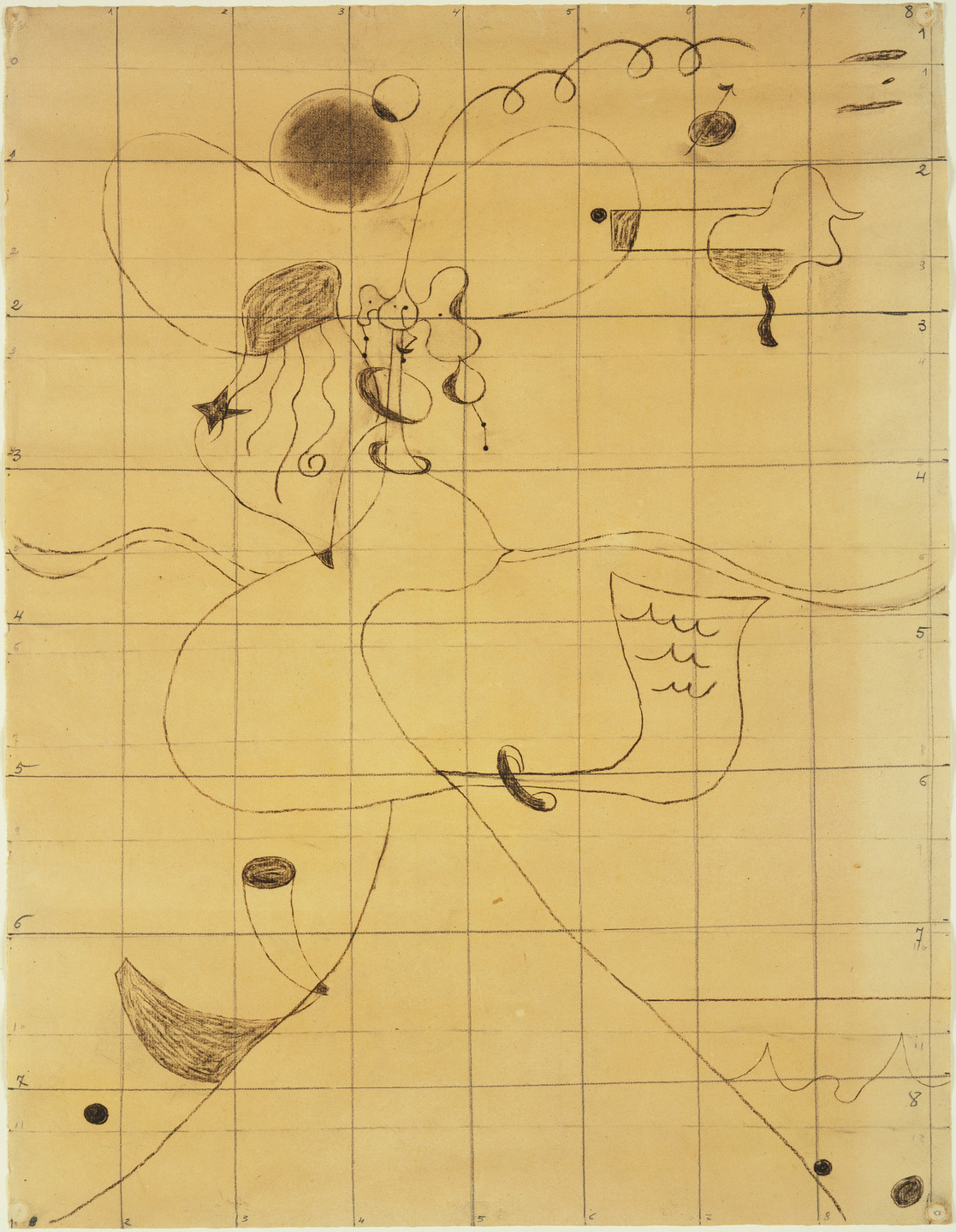 Joan Miró. Final study for Portrait of Mistress Mills in 1750. 1929