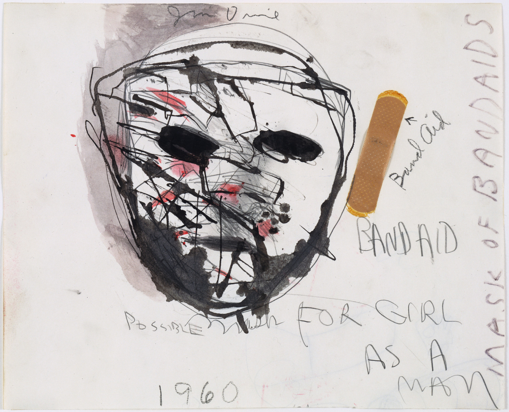 Jim Dine. Study for The Car Crash: Band Aid, Possible Mask for Girl as a Man. 1960