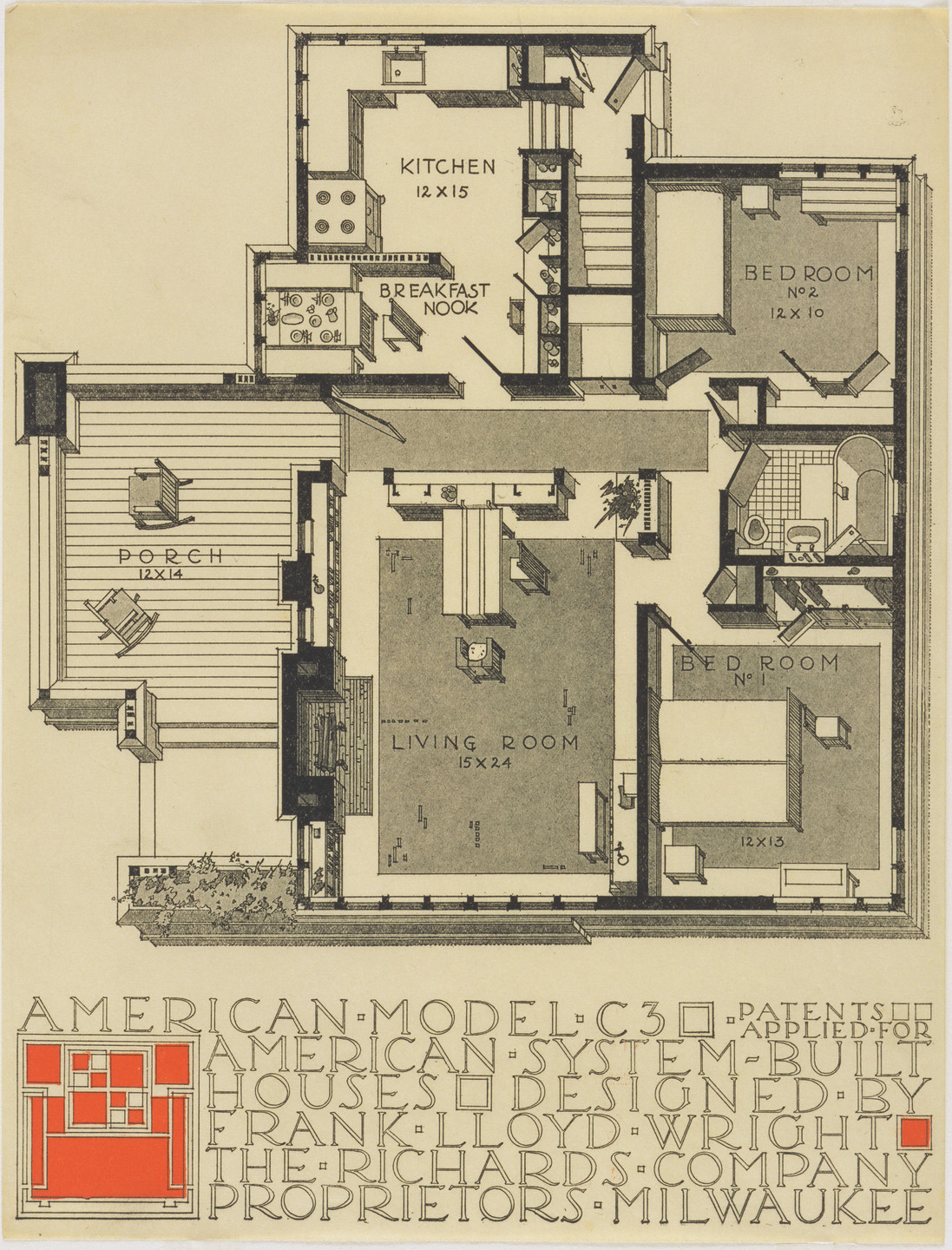 Frank Lloyd Wright. American System-Built Houses for The Richards Company project, (Plan oblique of model C3). 1915–1917