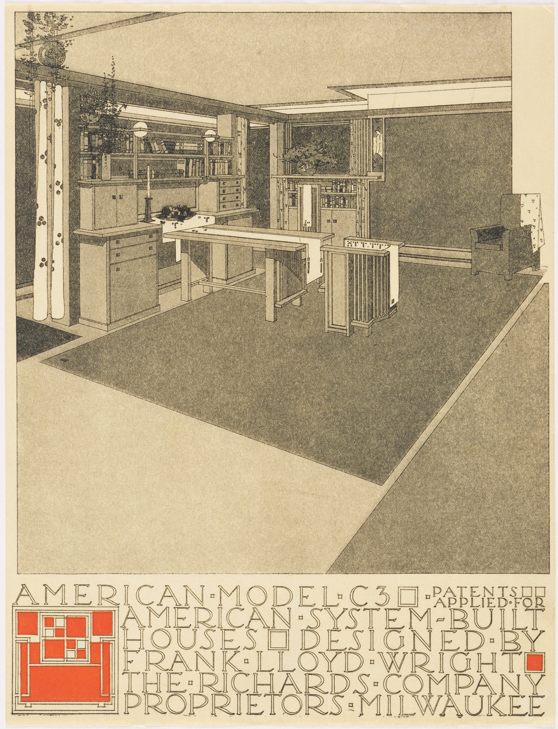 Frank Lloyd Wright. American System-Built Houses for The Richards Company project (Interior perspective of model C3). 1915–1917