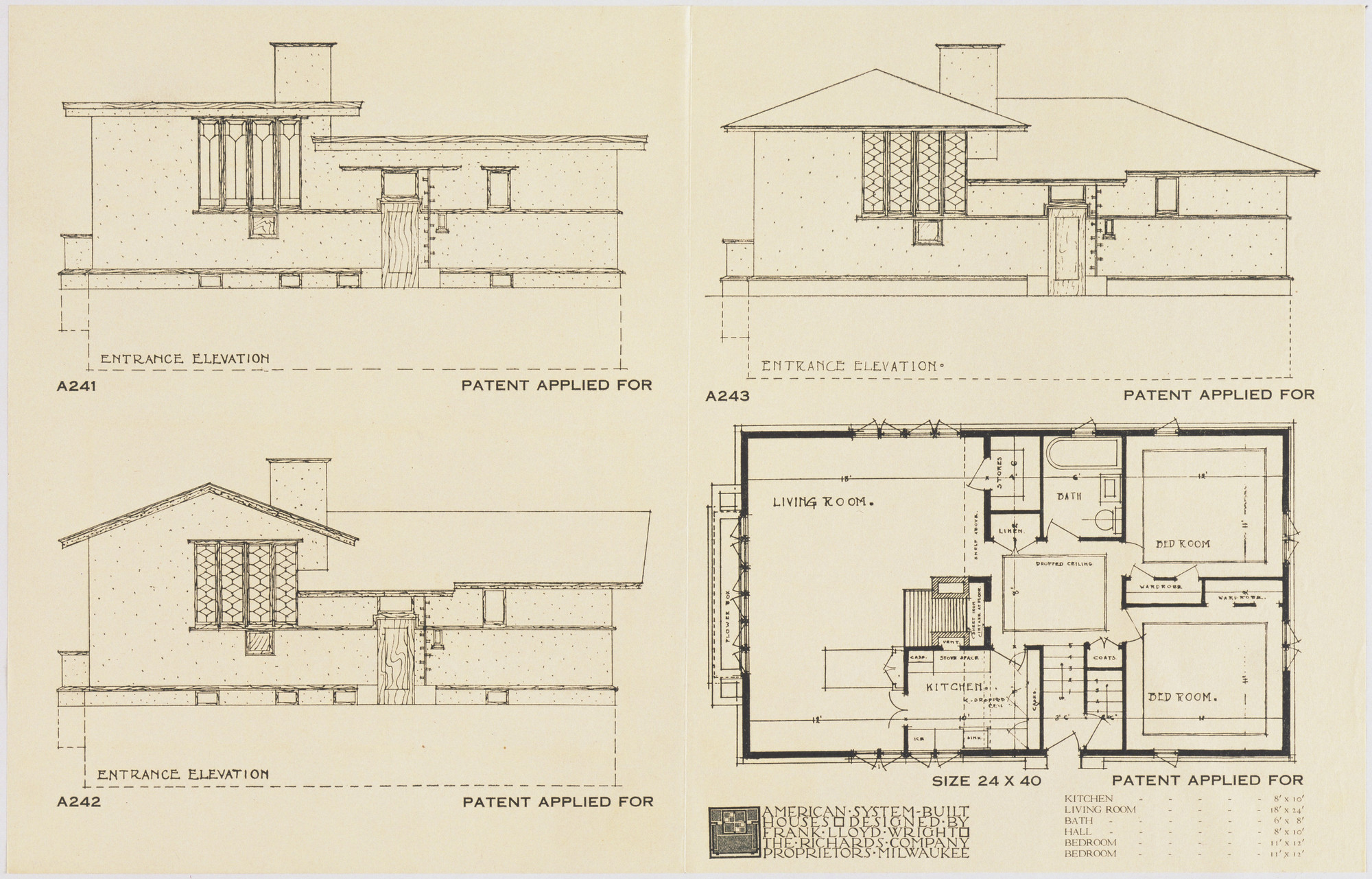 Frank Lloyd Wright. American System-Built Houses for The Richards Company, project, Milwaukee, Wisconsin, Three Elevations for one Plan. c. 1915-17