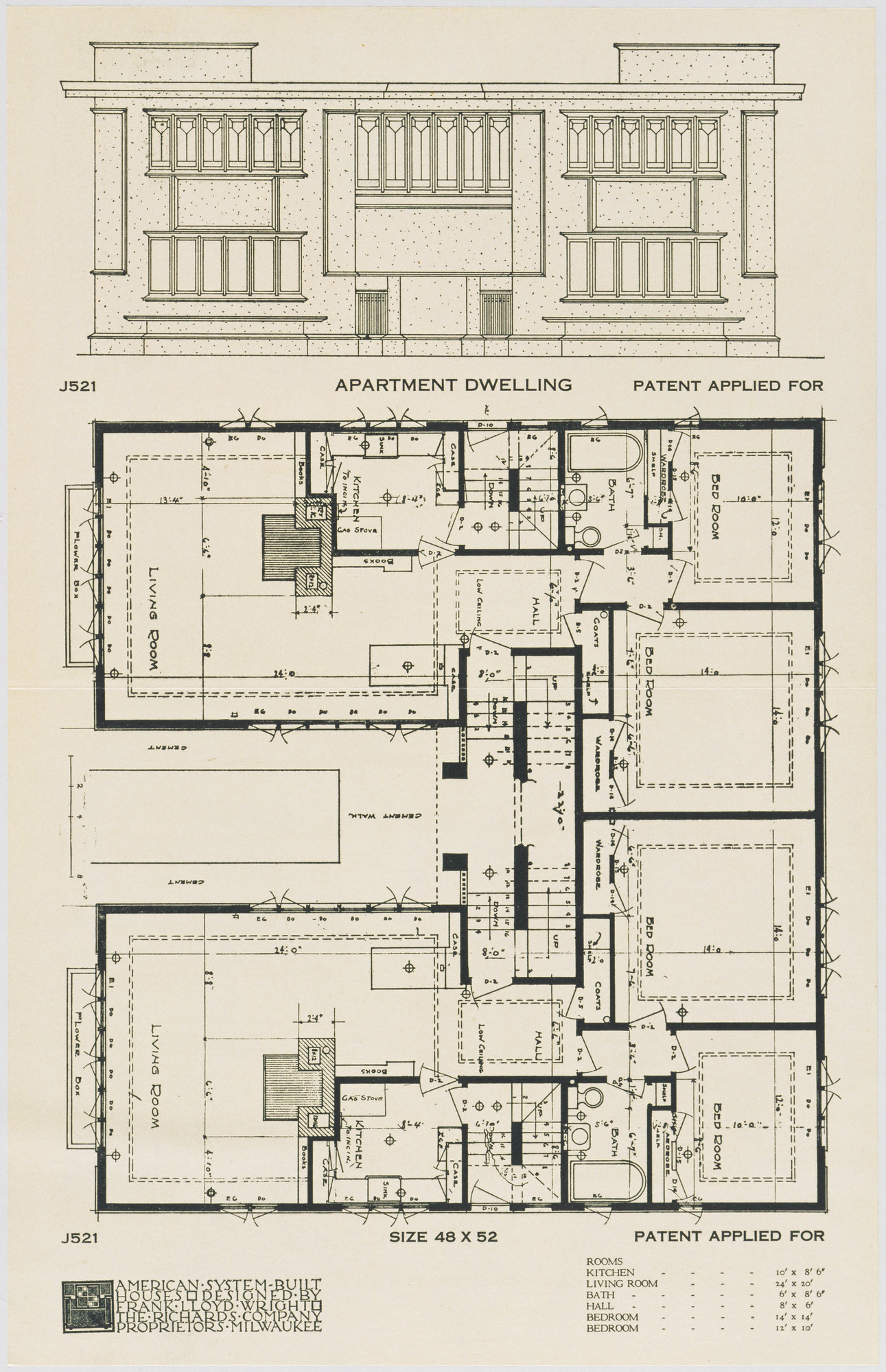 Frank Lloyd Wright. American System-Built Houses for The Richards Company, project, Milwaukee, Wisconsin, Apartment Dwelling Plan and Elevation. c. 1915-17