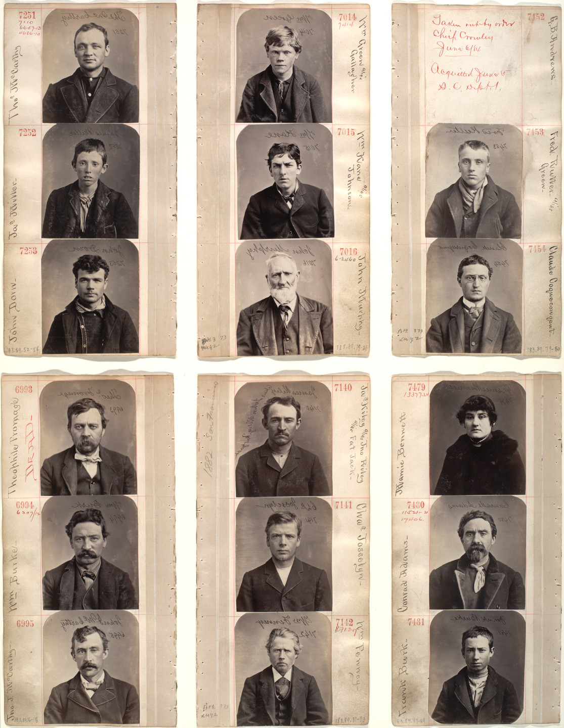 Unknown photographer. Untitled (Page from an album of mugshots). 1870s-80s