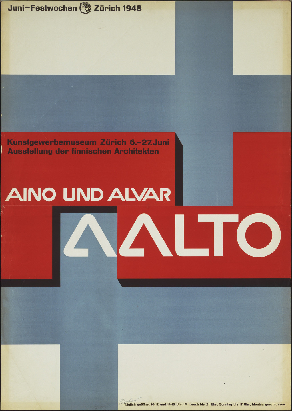 Rudolf Bircher. Aino und Alvar Aalto (Poster for an exhibition at the Kunstgewerbemuseum, Zürich). 1948