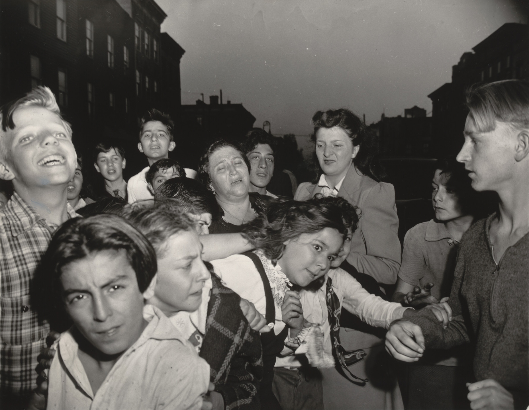 Weegee (Arthur Fellig). Brooklyn School Children See Gambler Murdered in Street. 1941