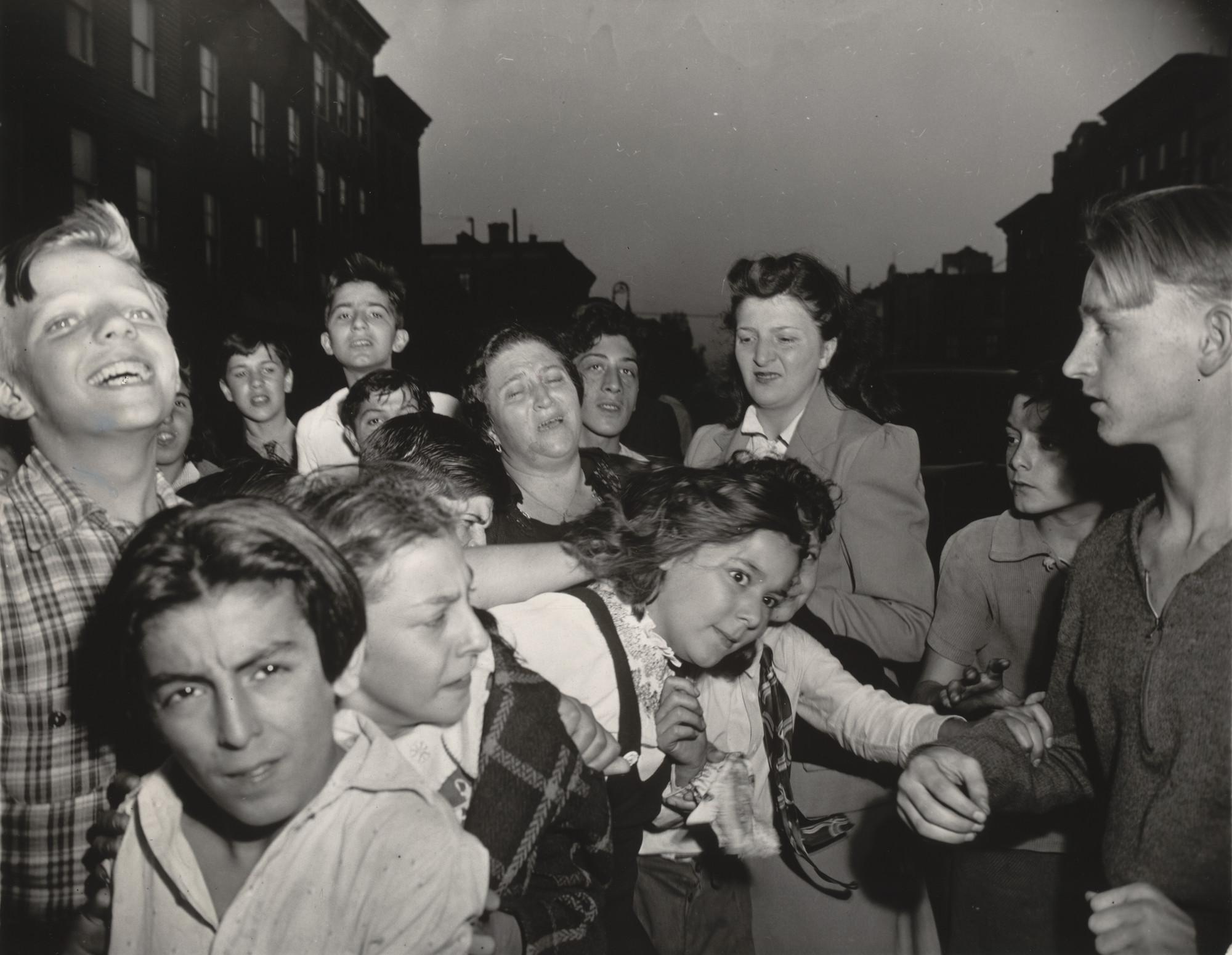 Weegee (Arthur Fellig)  Brooklyn School Children See Gambler