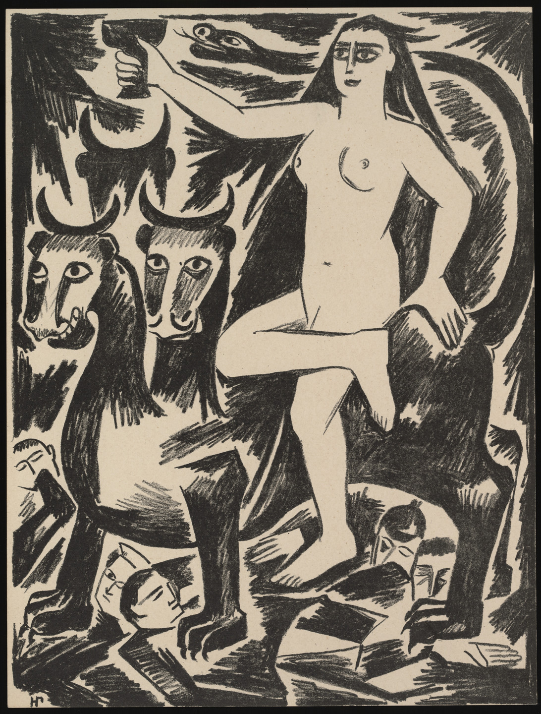 Natalia Goncharova. Deva Na Zvere (Maiden on the Beast) from Misticheskie obrazy voiny. 14 litografii (Mystical Images of War: Fourteen Lithographs). 1914