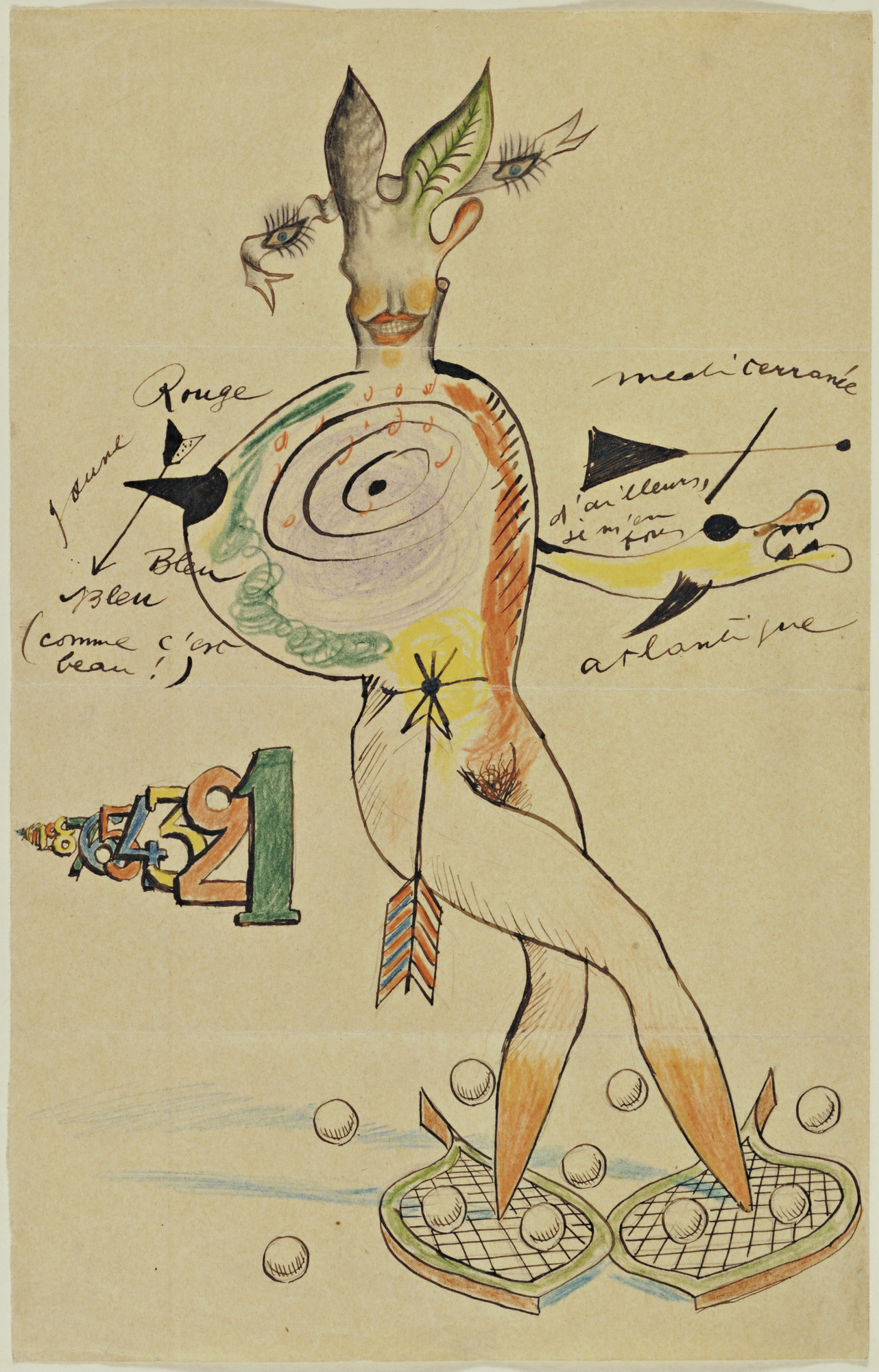 Cadavre Exquis, Yves Tanguy, Joan Miró, Max Morise, Man Ray (Emmanuel Radnitzky). Nude. 1926–27