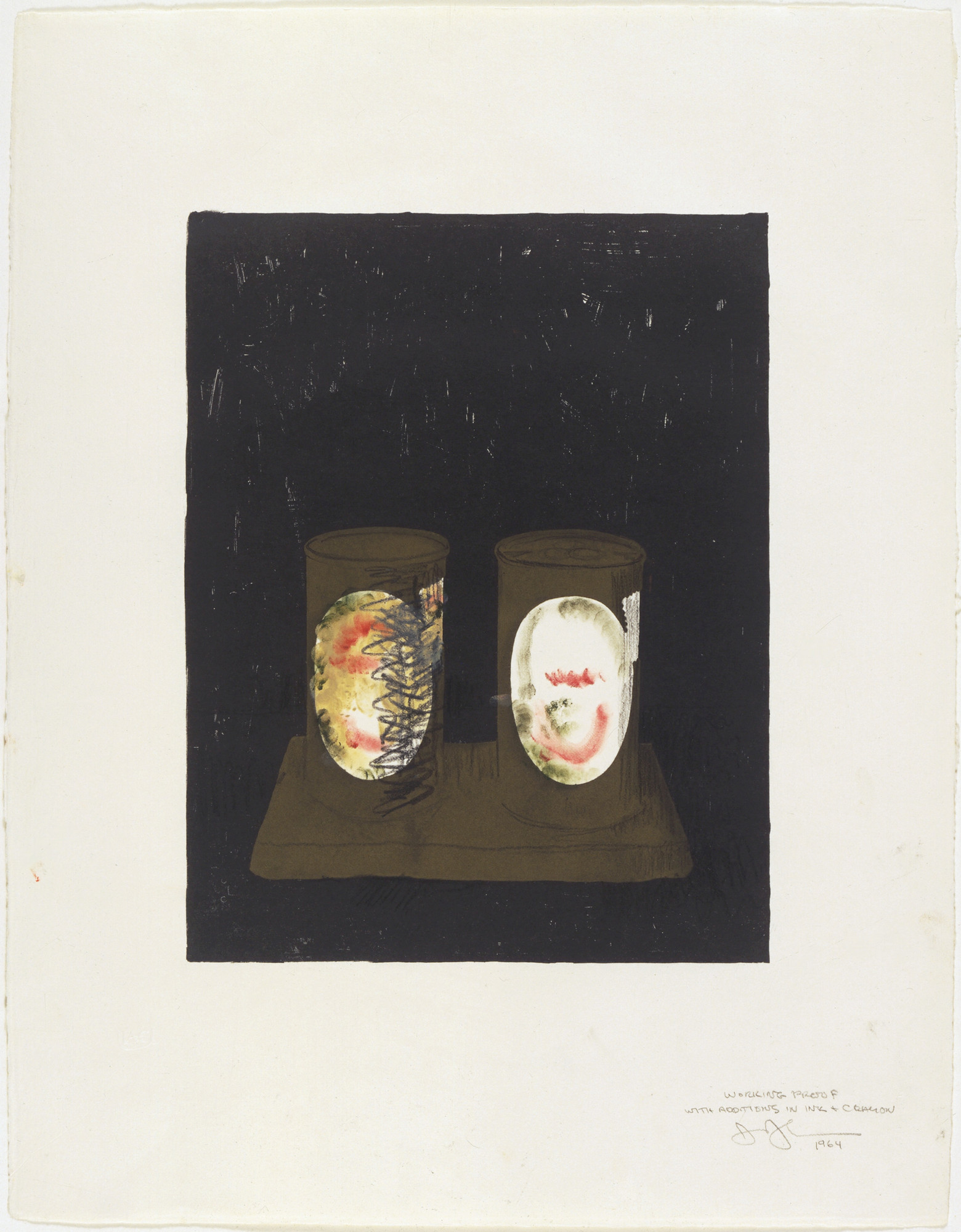 Jasper Johns. Working proof for Ale Cans. 1964
