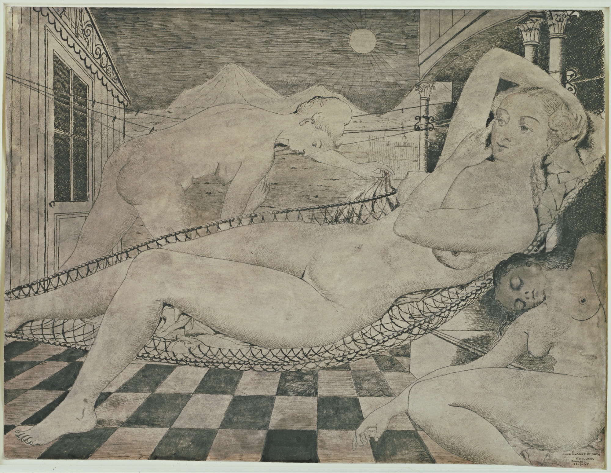 Paul Delvaux. Composition (The Siesta). 1947