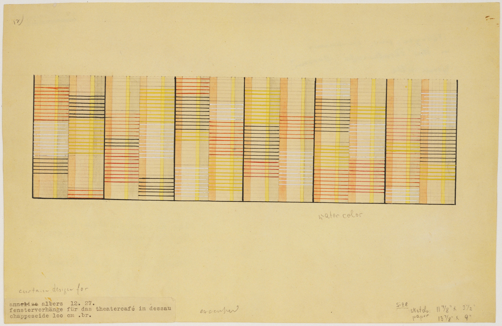 Anni Albers. Design for Window Curtain for Theater Café, Dessau. 1927