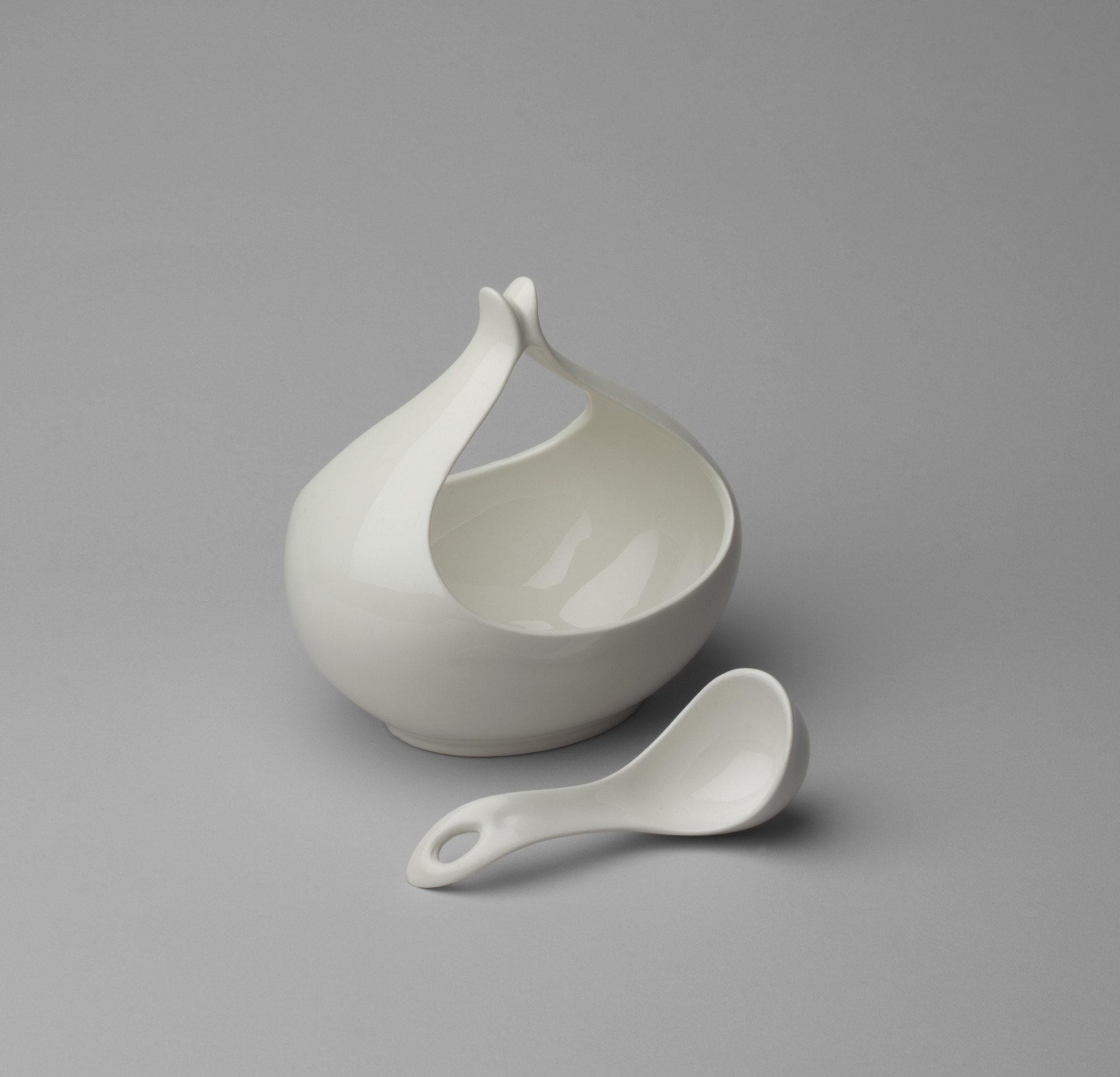 Eva Zeisel. Hallcraft/Tomorrow's Classic Sauce Boat with Ladle. c. 1949-50