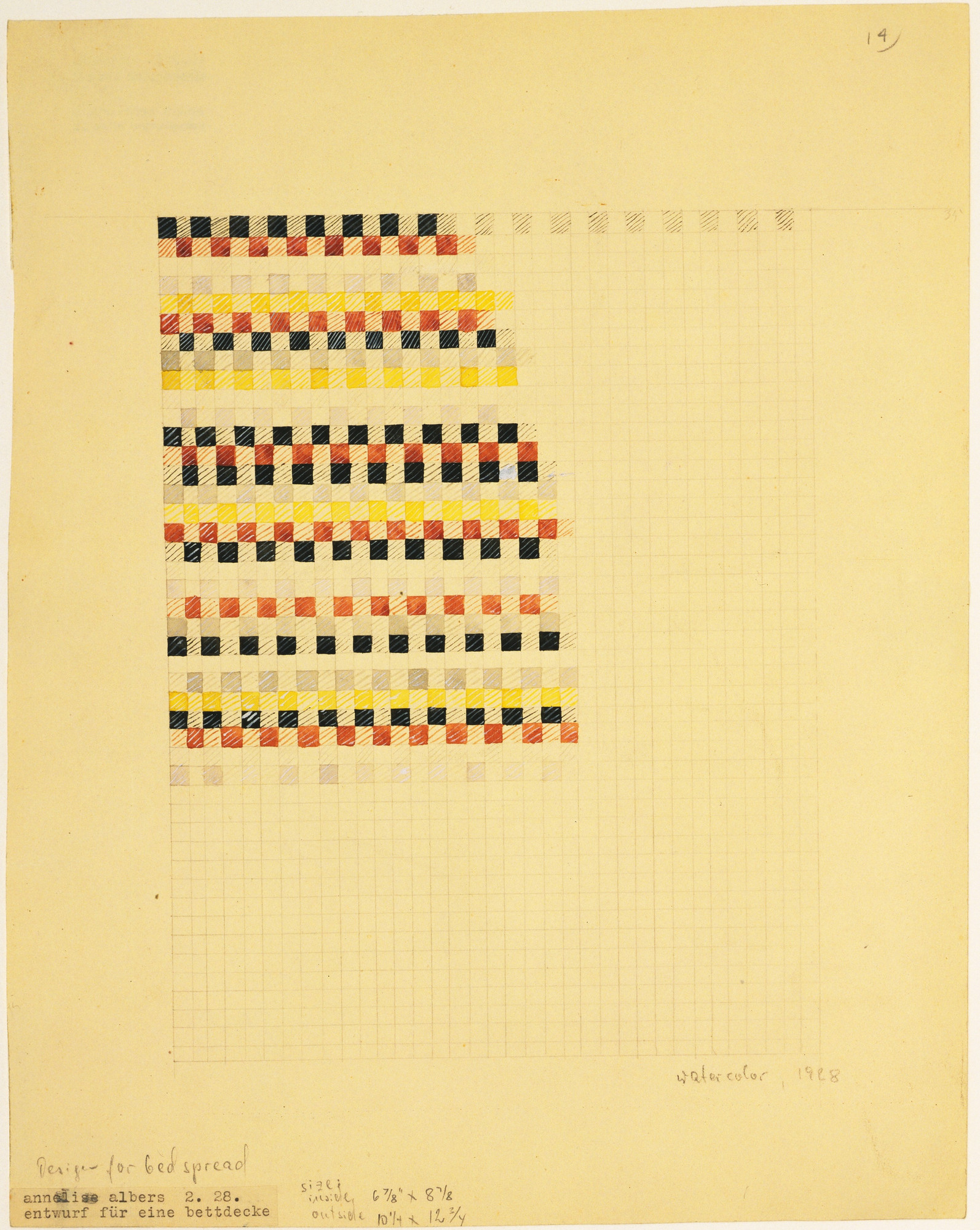 Anni Albers. Design for Bedspread. 1928