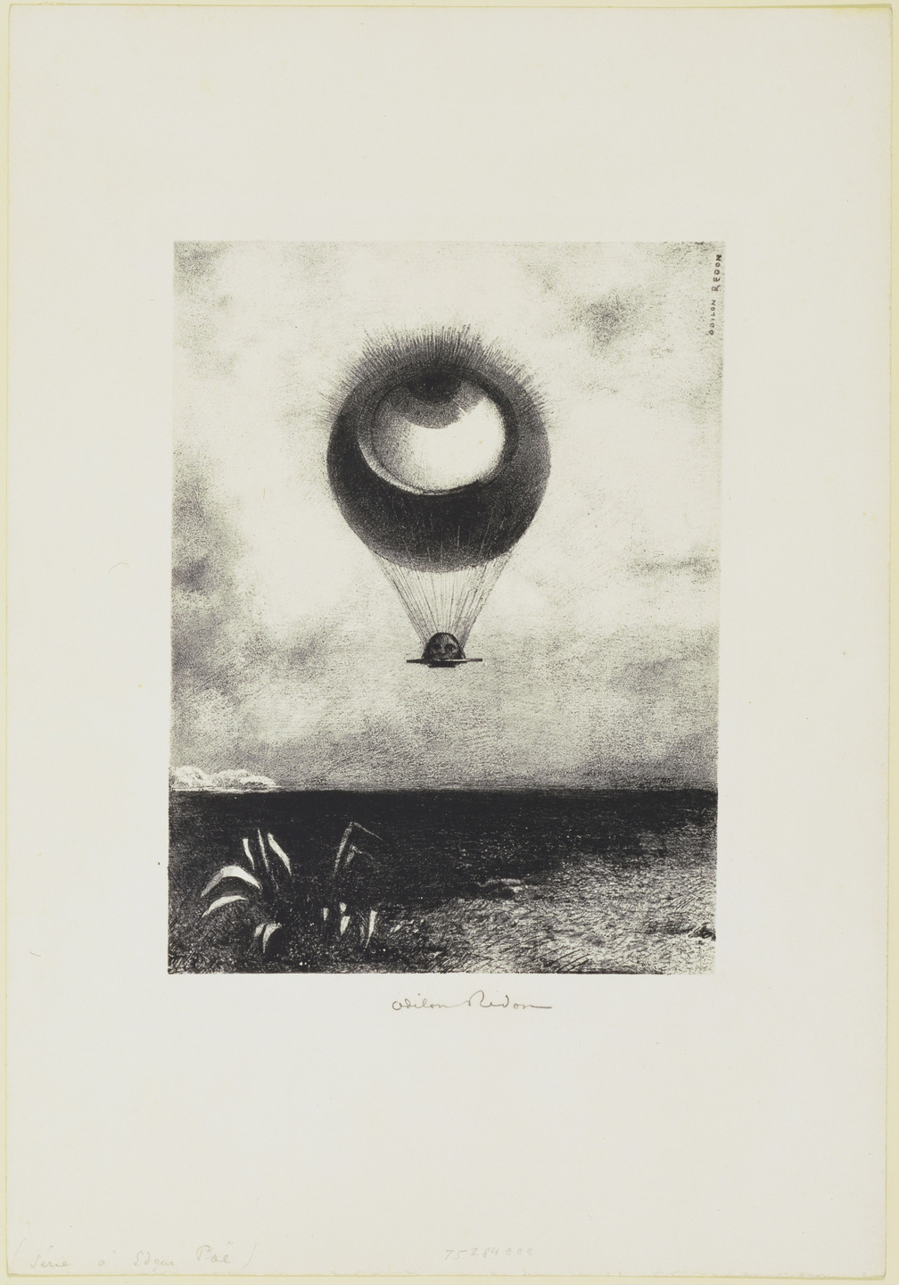 Odilon Redon. The Eye like a Strange Balloon Mounts toward Infinity (L'Œil, comme un ballon bizarre se dirige vers l'infini). 1882
