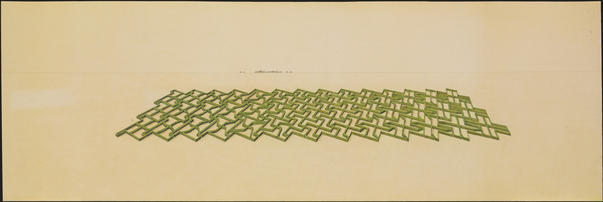 Emilio Ambasz. Pro Memoria Garden, project for a Labyrinth, Lüdenhausen, Germany, Aerial perspective. 1978