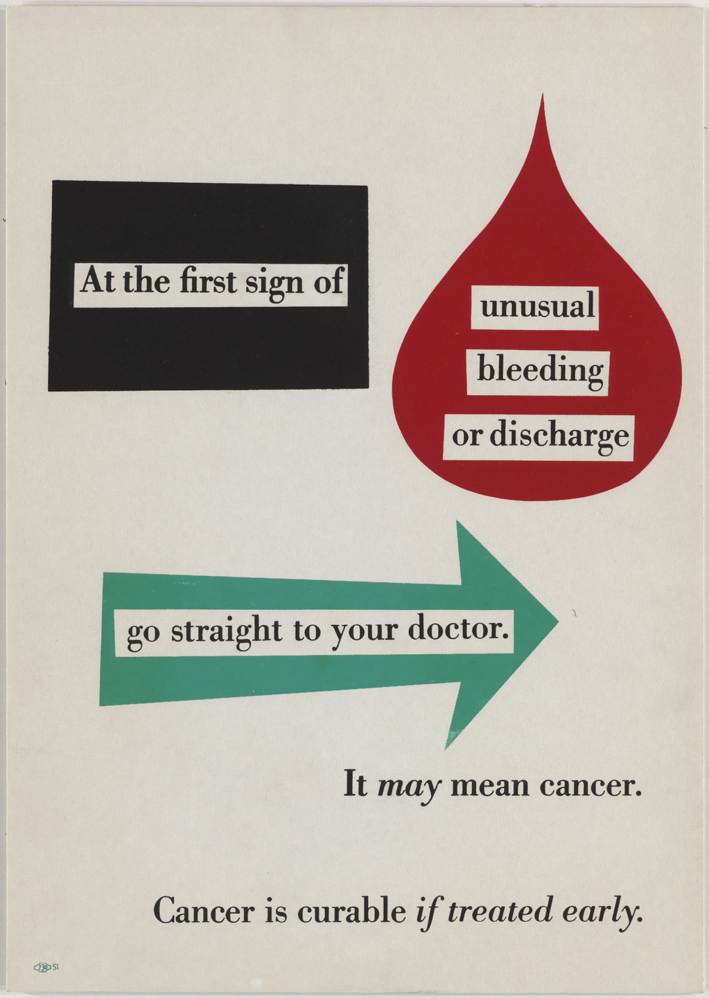 Leo Lionni. Cancer is Curable If Treated Early. 1950