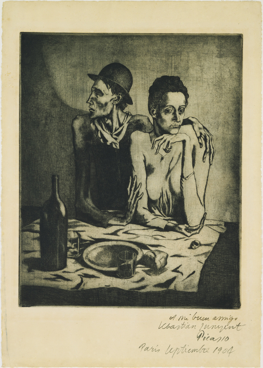 Pablo Picasso. The Frugal Repast (Le Repas frugal ) from the Saltimbanques series. 1904