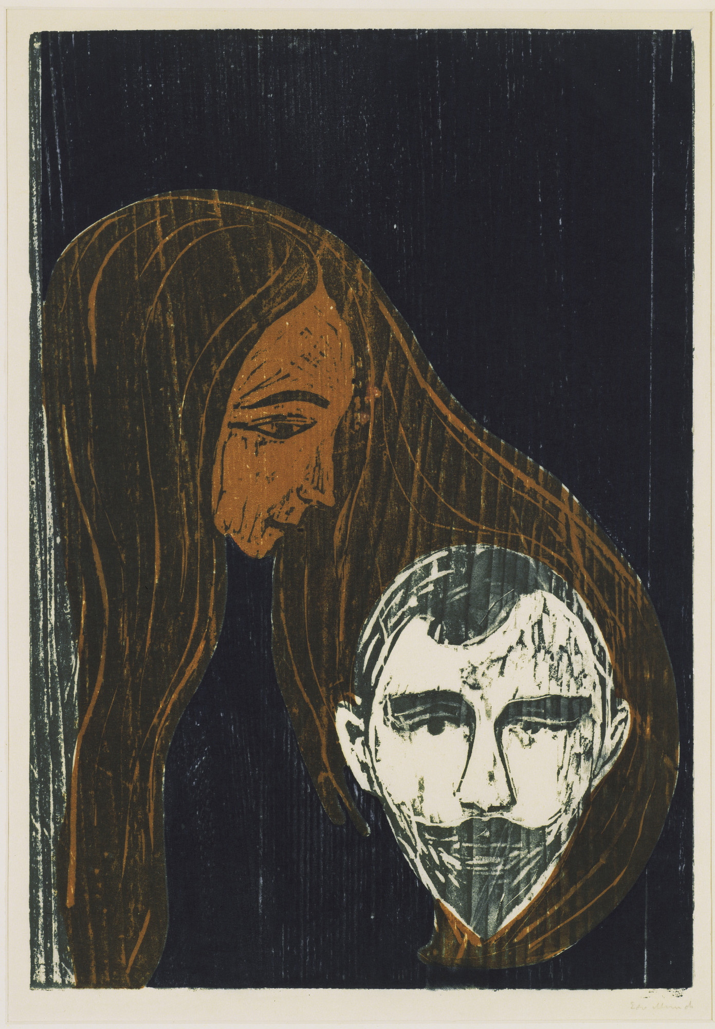 Edvard Munch. Man's Head in Woman's Hair (Mannshode i Kvinnehår). 1896
