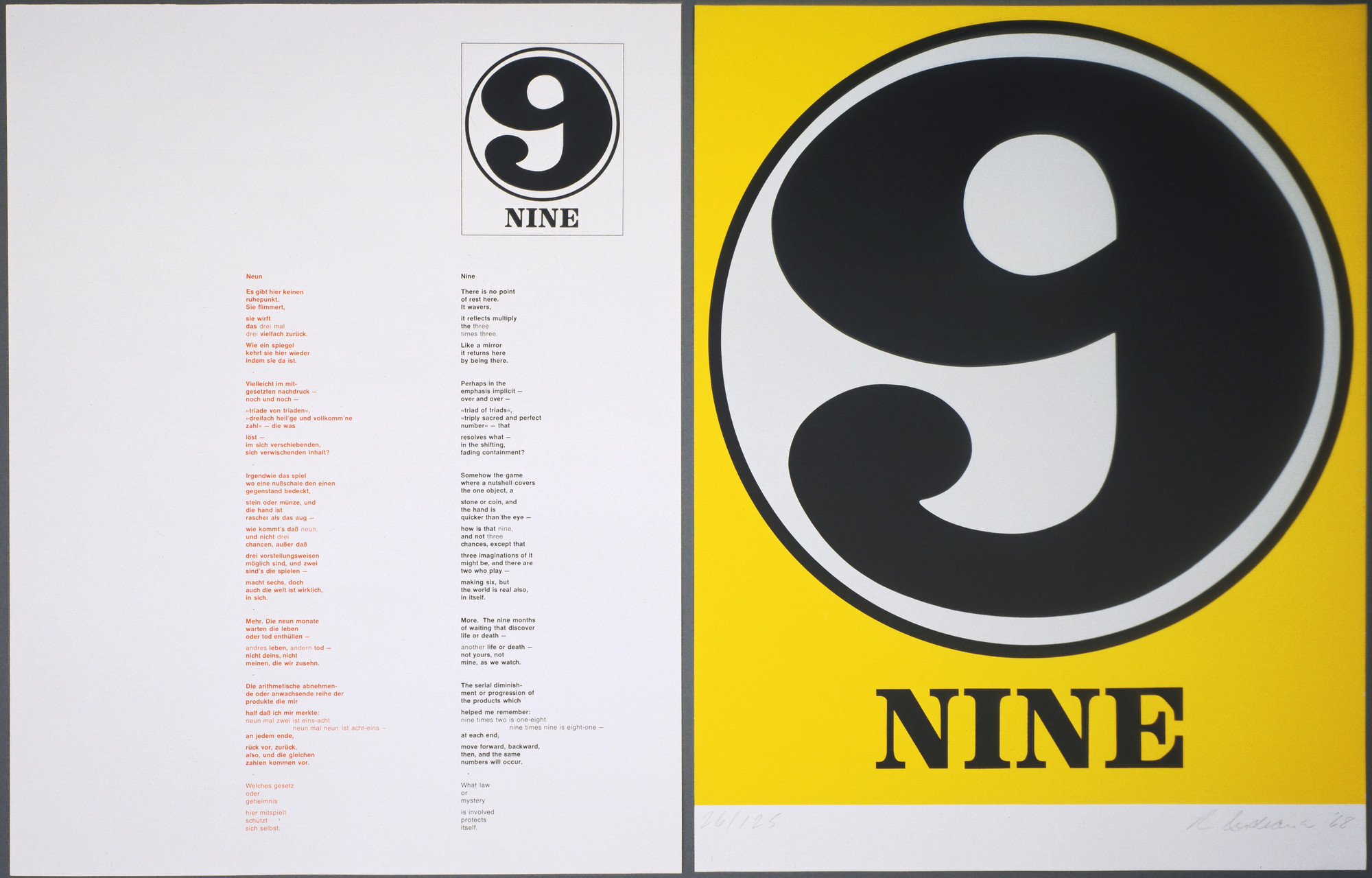Robert Indiana. Nine (plate, folio 28) from Numbers. 1968