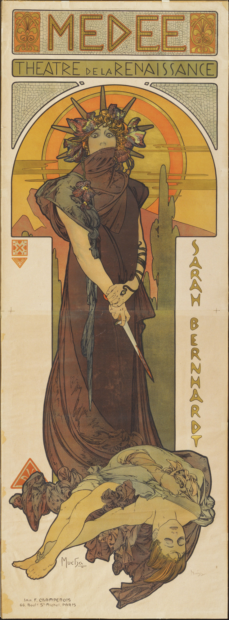 Alphonse Mucha. Medée (Medea) (Poster for a performance by Sarah Bernhardt at the Théâtre de la Renaissance, Paris). 1898