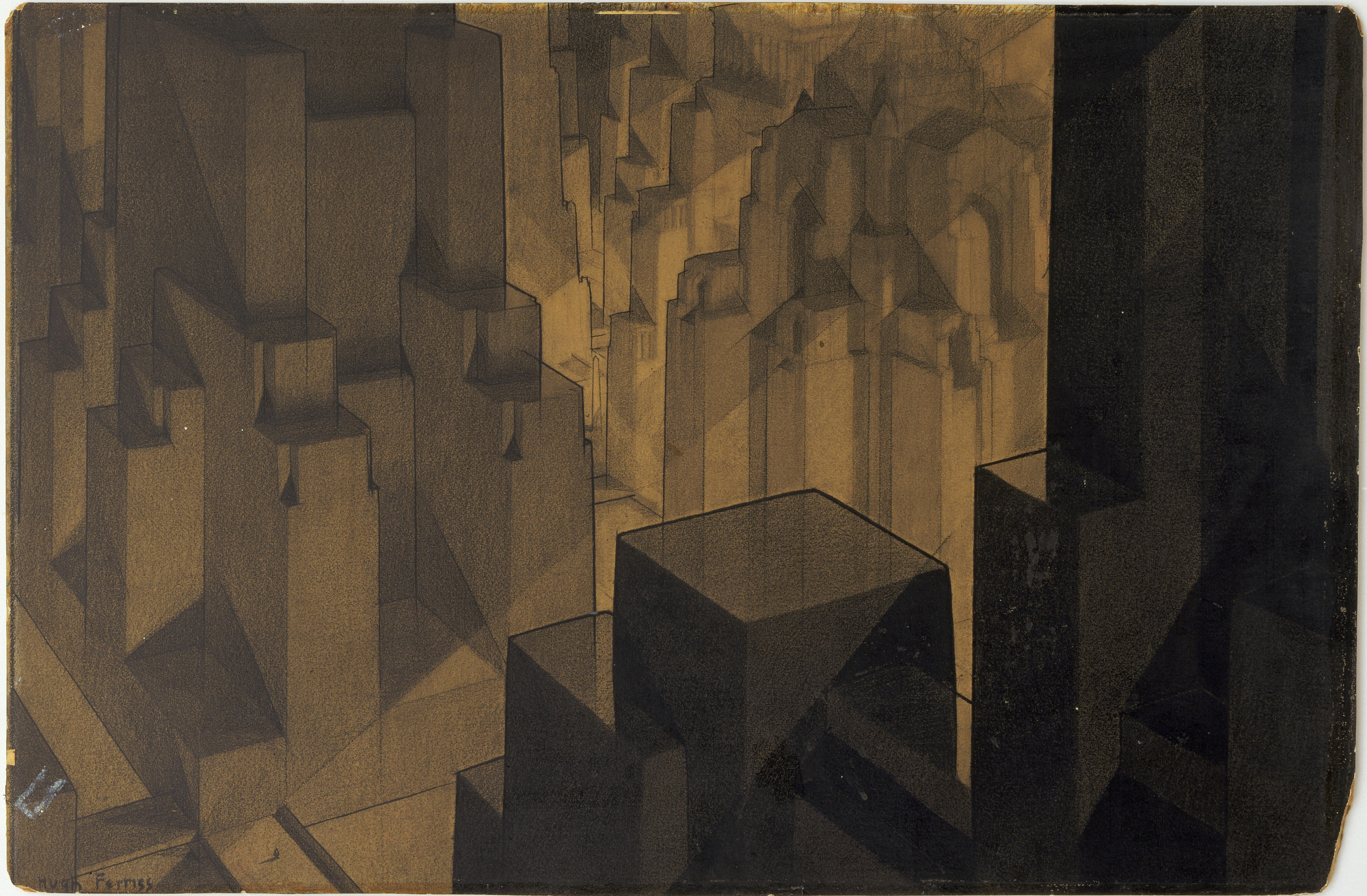 Hugh Ferriss. Buildings in the Modeling Project (Aerial perspective). 1924