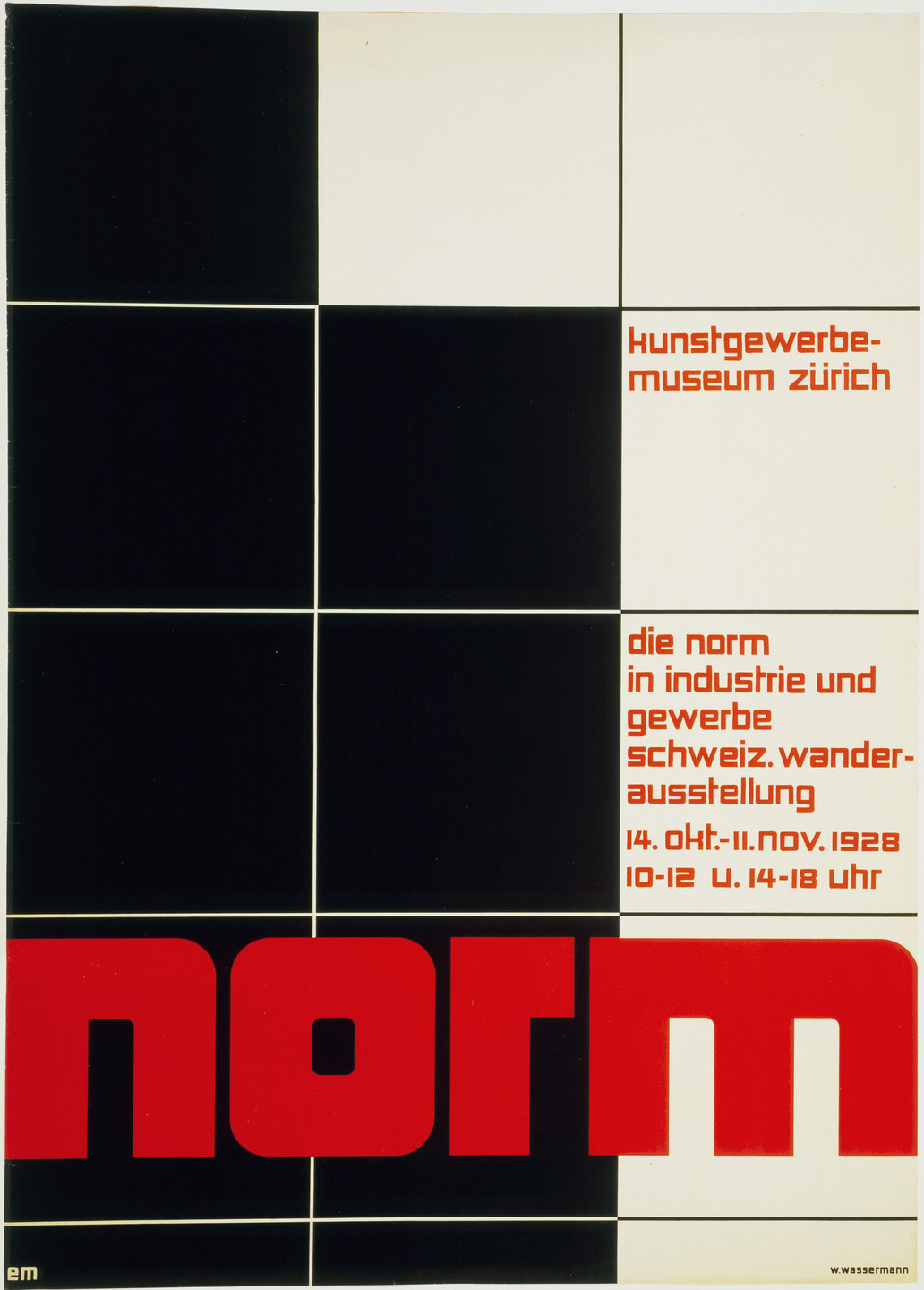Ernst Mumenthaler, Theo H. Ballmer. Norm (Poster for an exhibition of Swiss industrial design at the Kunstgewerbemuseum Zürich). 1928