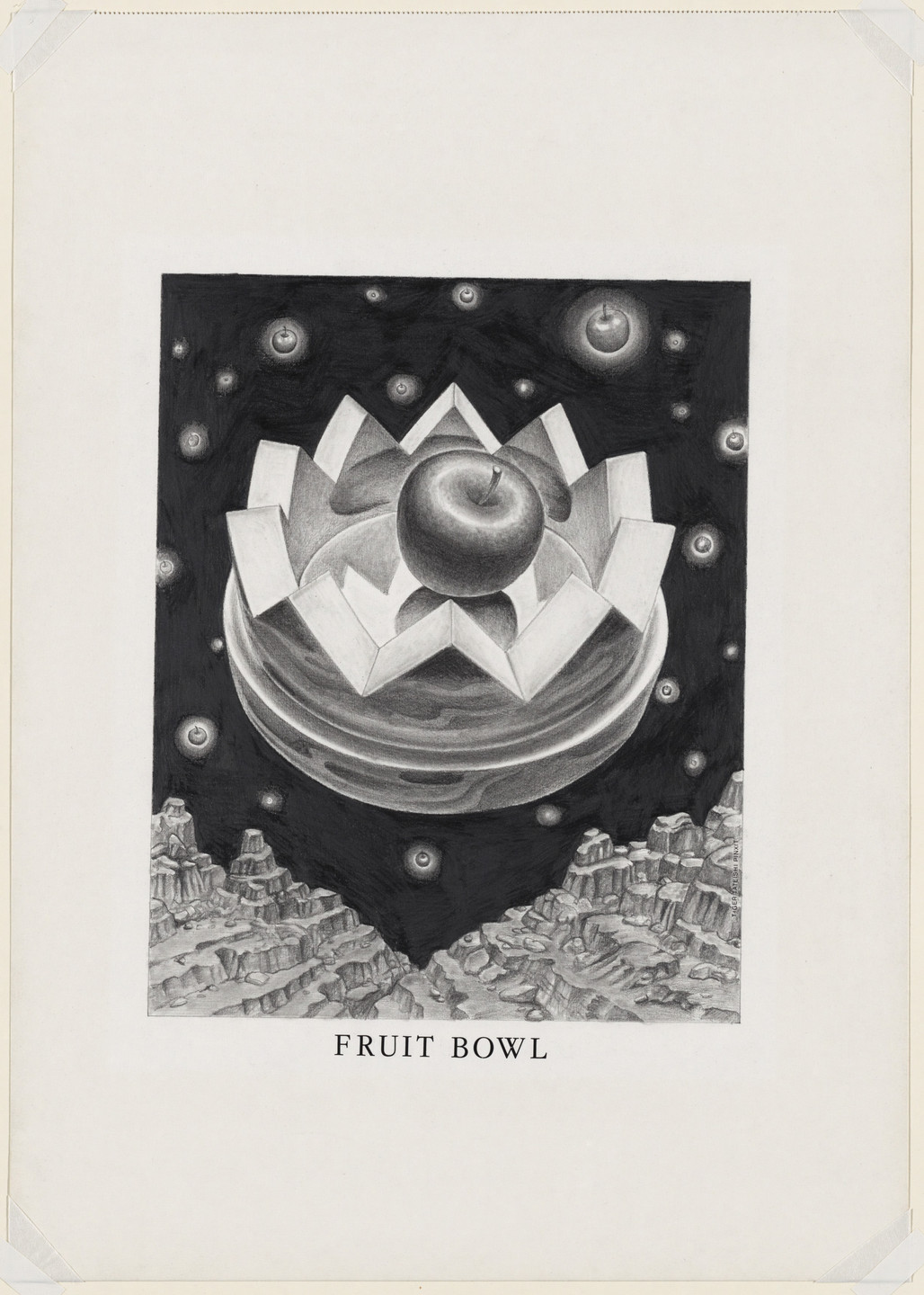 Ettore Sottsass. Study for Fruit Bowl (with Apple), project (Aerial perspective). 1973