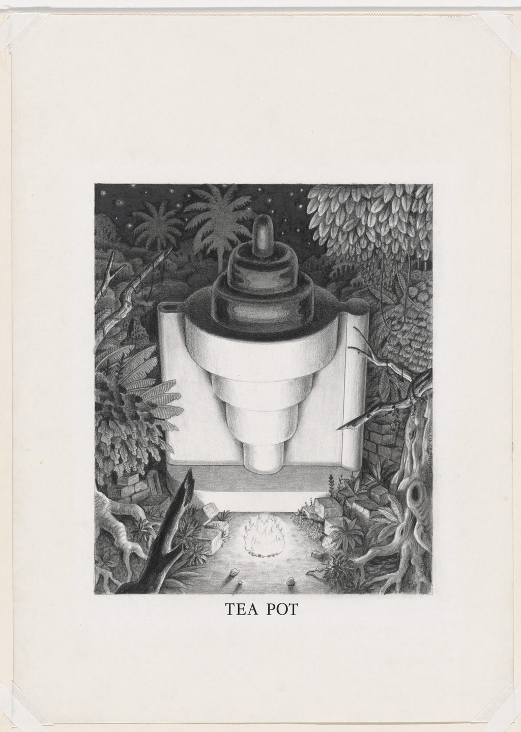 Ettore Sottsass. Study for Tea Pot (in Forest Setting), project (Perspective). 1973