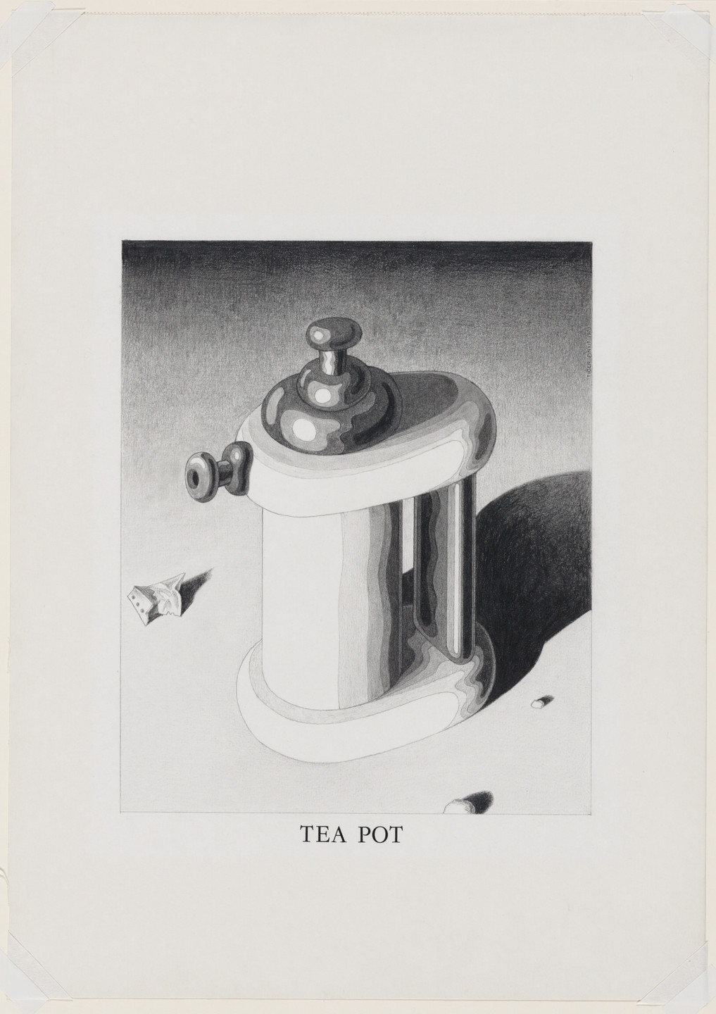 Ettore Sottsass. Study for Tea Pot (with Red Lid), project (Perspective). 1973