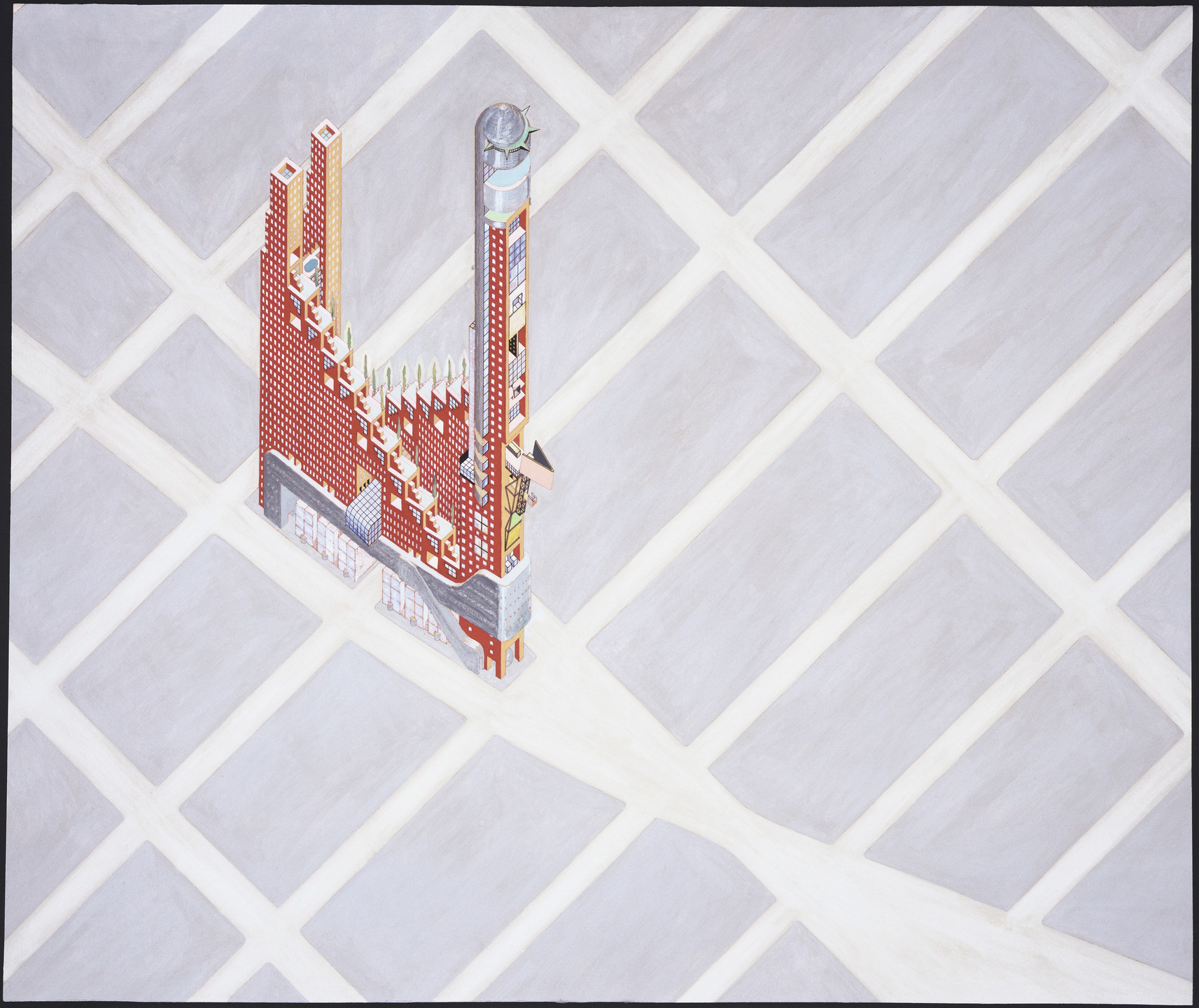 Elia Zenghelis, Zoe Zenghelis. Hotel Sphinx Project, New York, New York (Axonometric). 1975–1976
