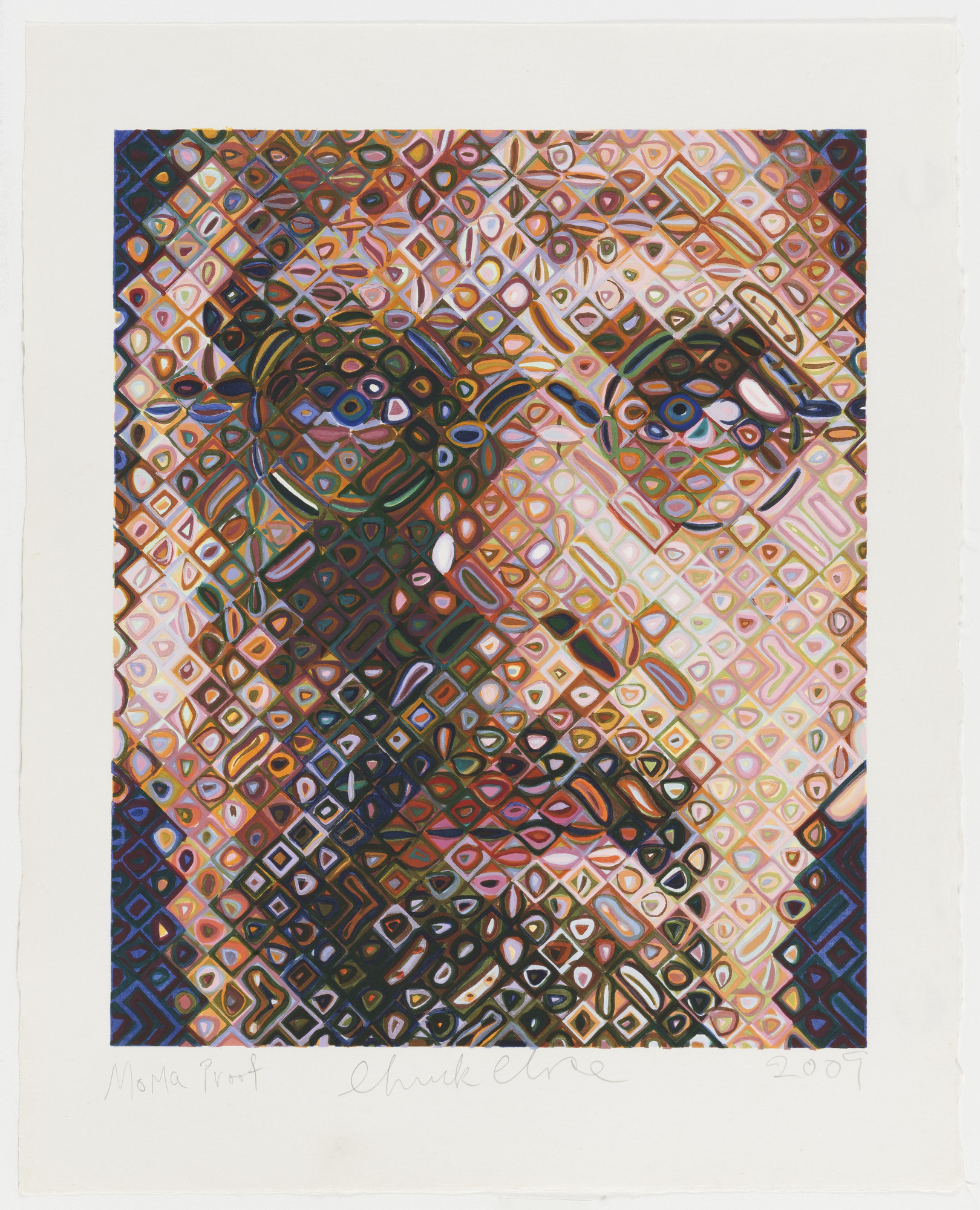 Chuck Close. Self-Portrait Woodcut. 2009