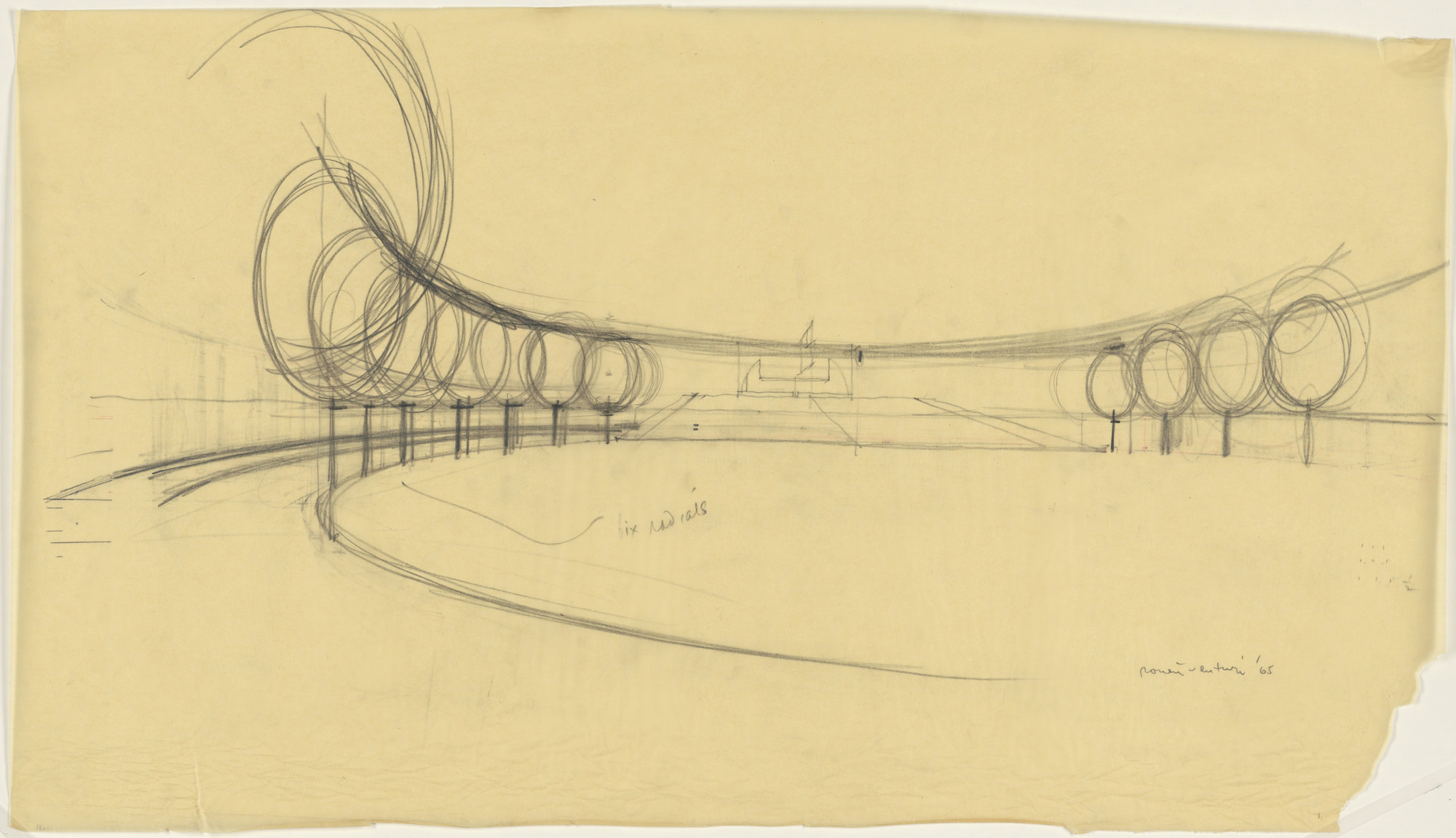 Venturi and Rauch, Robert Venturi, John Rauch. City Hall, project, North Canton, Ohio, Perspective sketch. 1965
