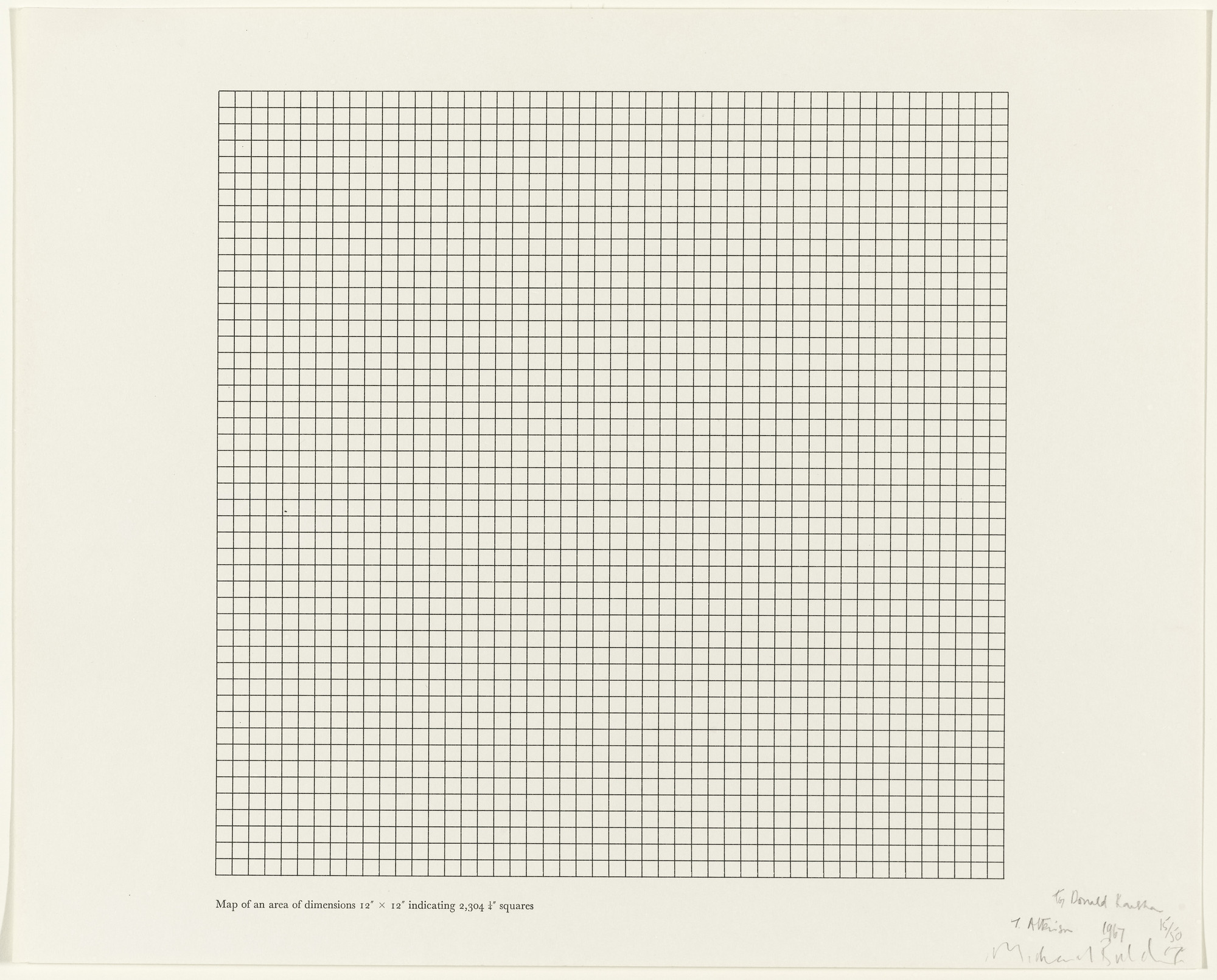 "Terry Atkinson, Michael Baldwin. Map of an Area of Dimensions 12"" x 12"" Indicating 2,304 1/4"" Squares. 1967"