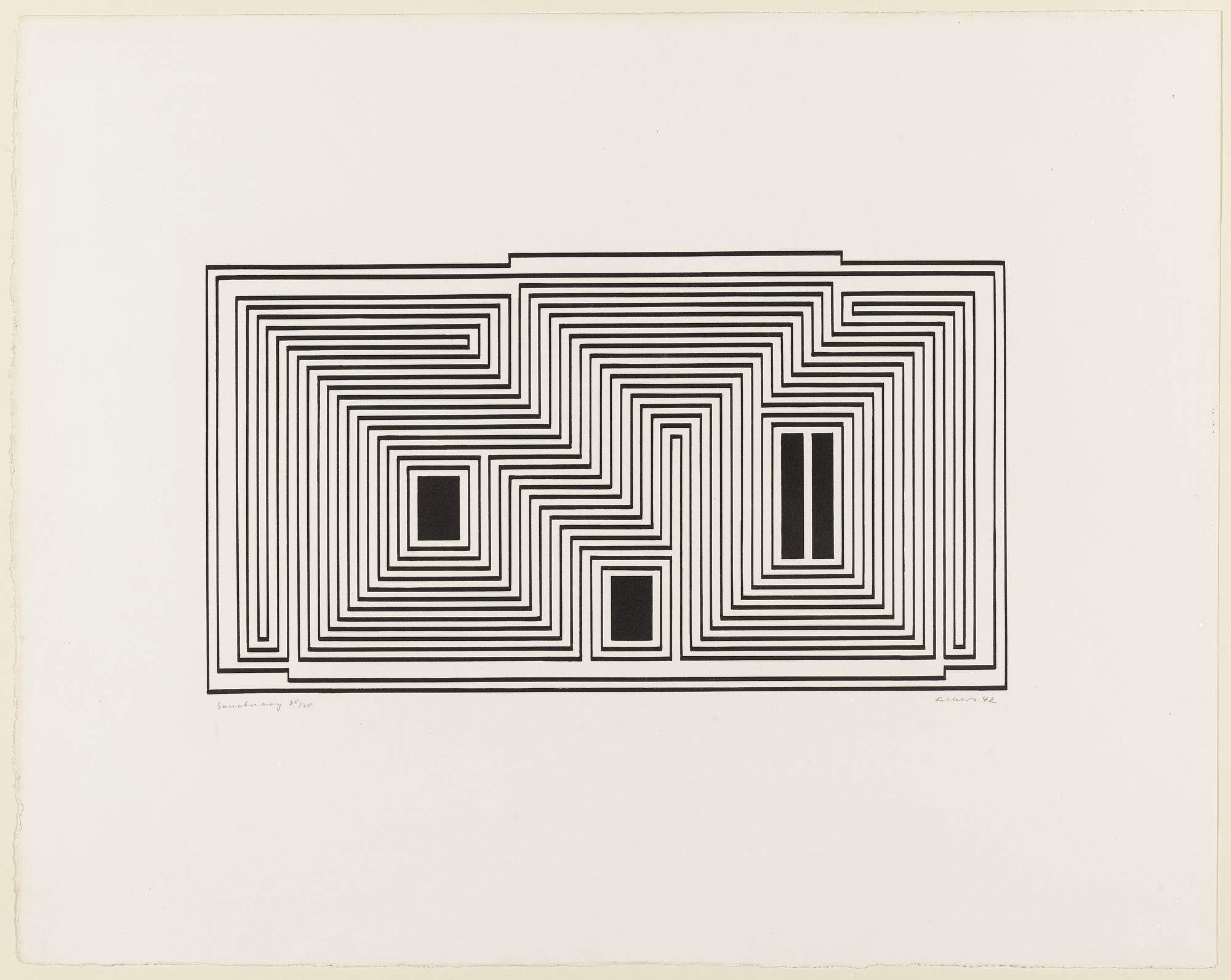 Josef Albers. Sanctuary from the series Graphic Tectonic. 1942