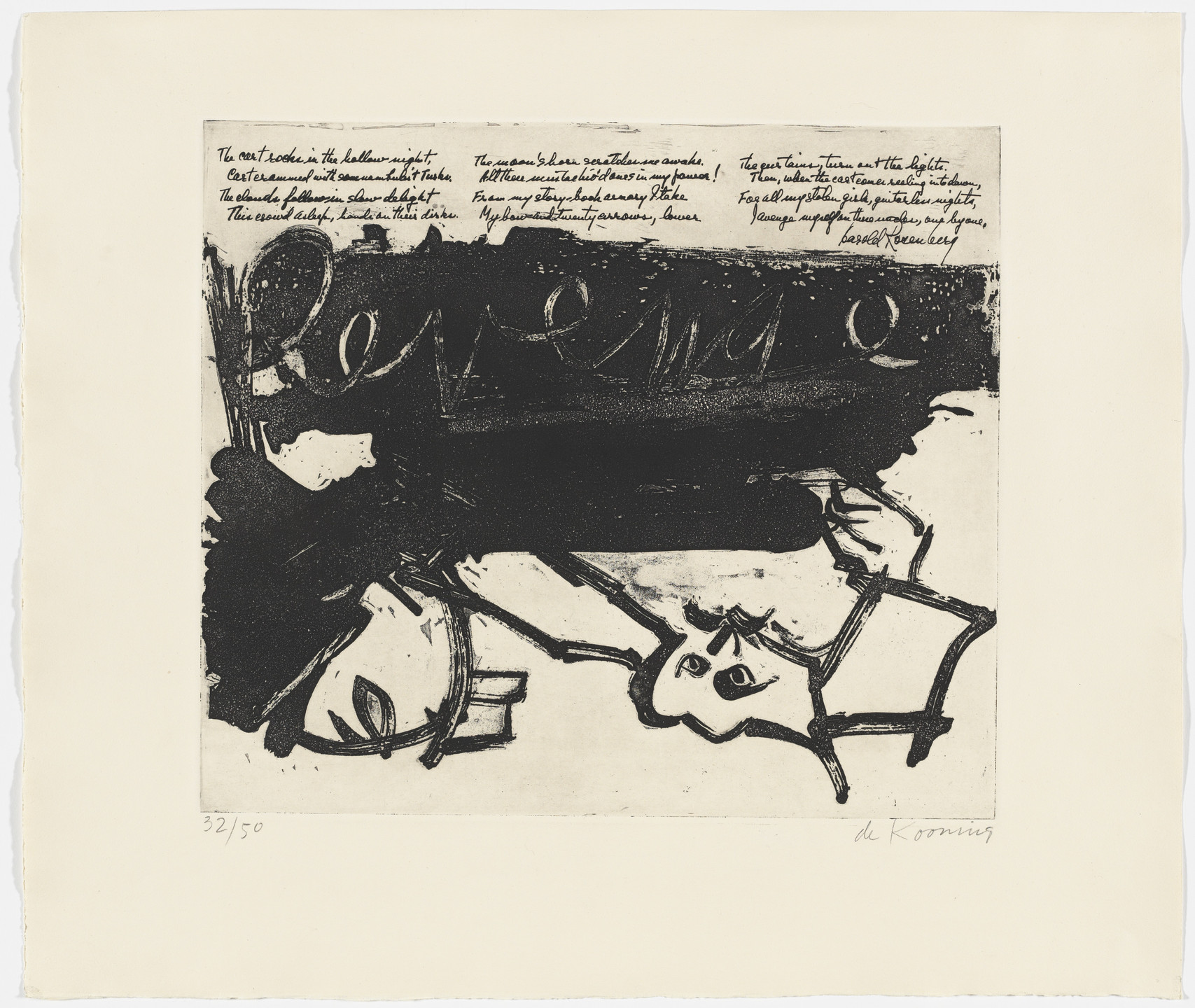 Willem de Kooning, Harold Rosenberg. Revenge (in-text plate, folio 8) from 21 Etchings and Poems. 1960